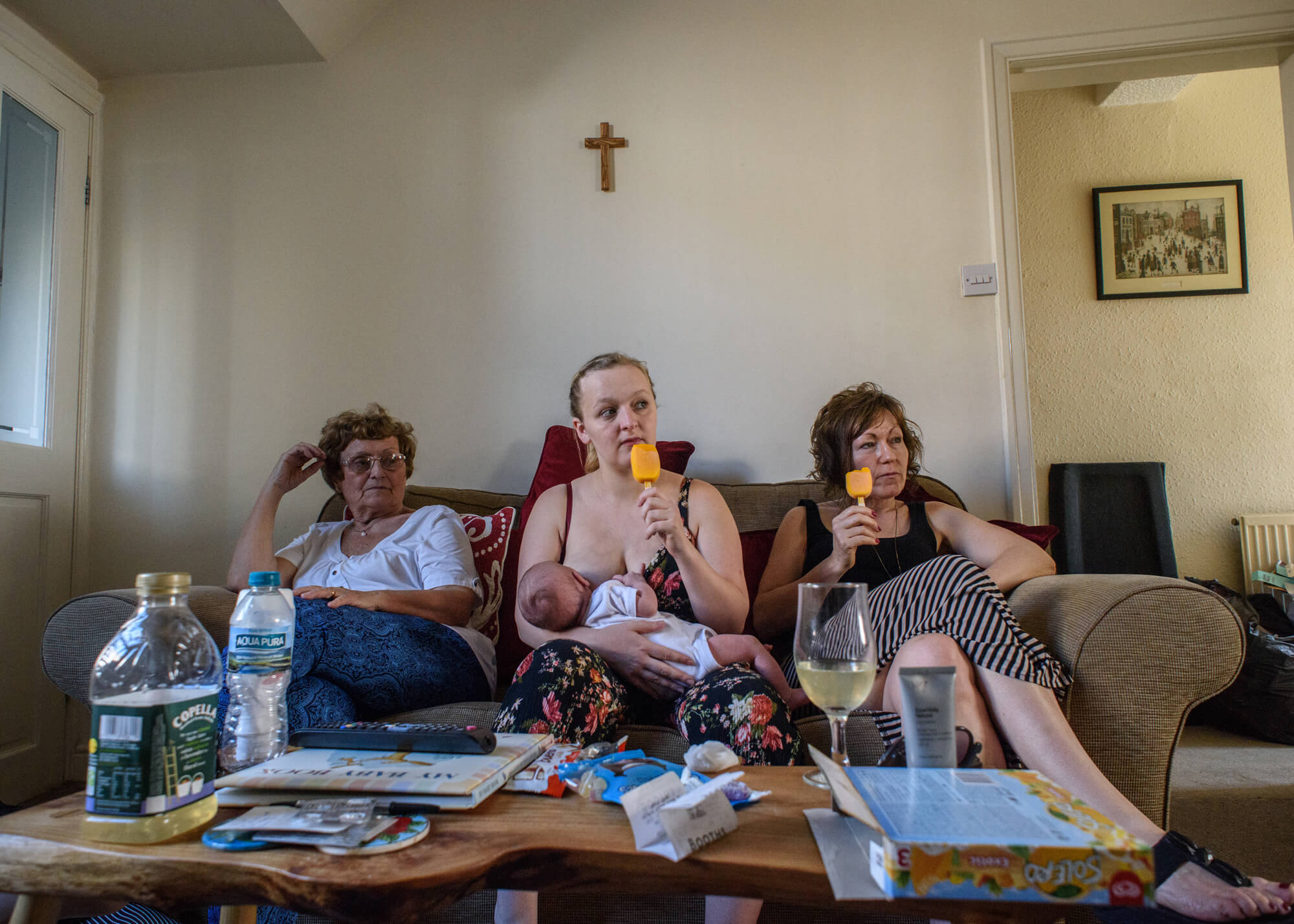Alice Dempsey photography goodnight god bless three women sat on sofa eating ice creams against a white background the south west collective of photography ltd