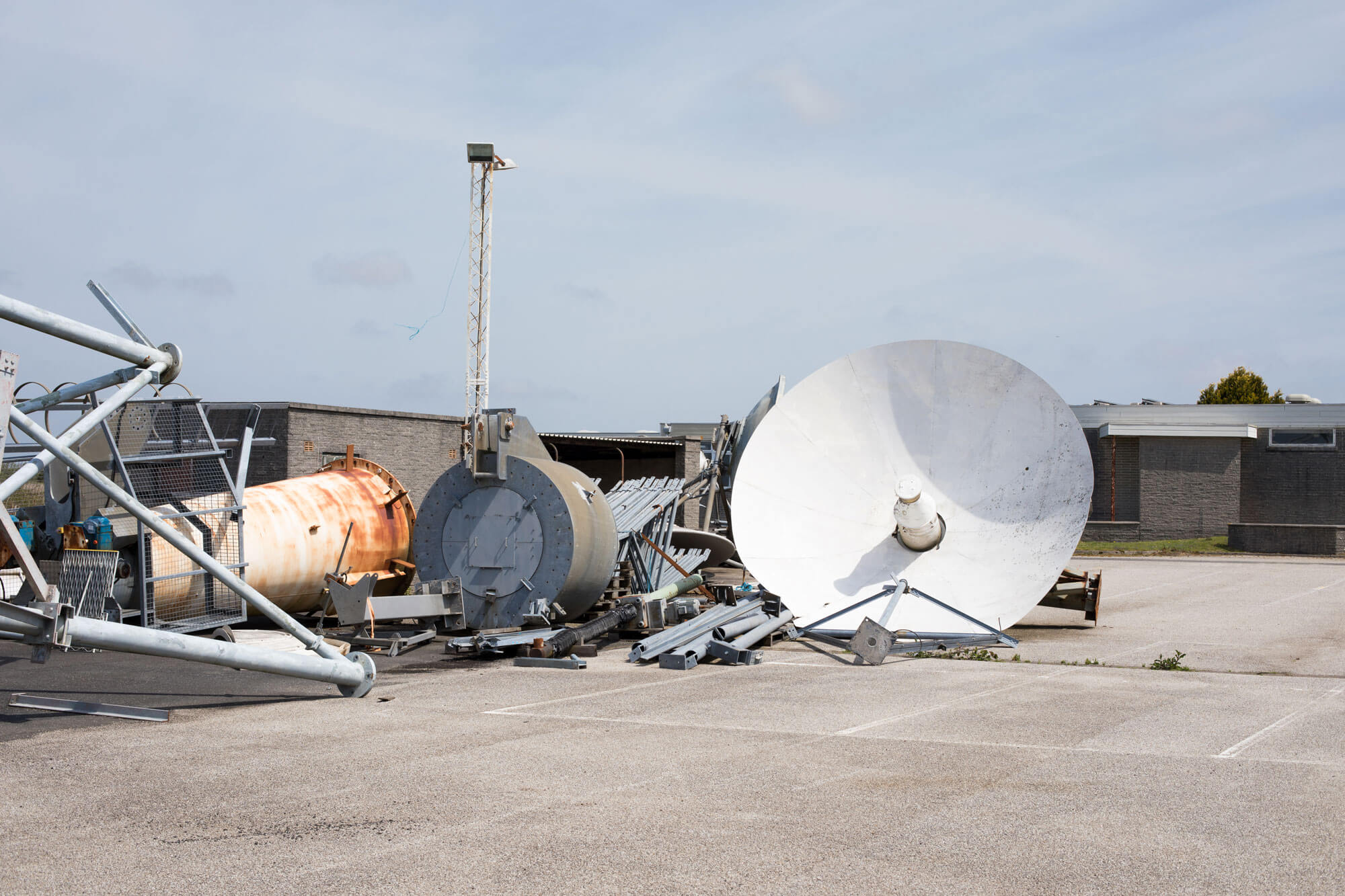 abandoned satellites ready for a scrap pile