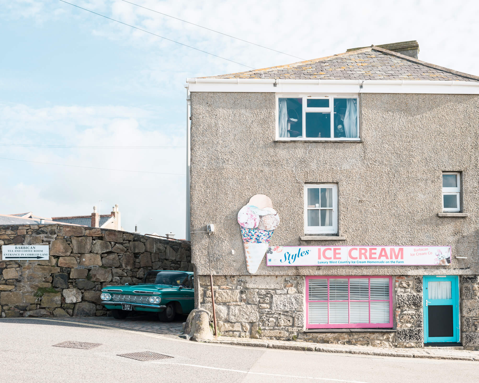 ice cream shop in penzance on a bright summers day