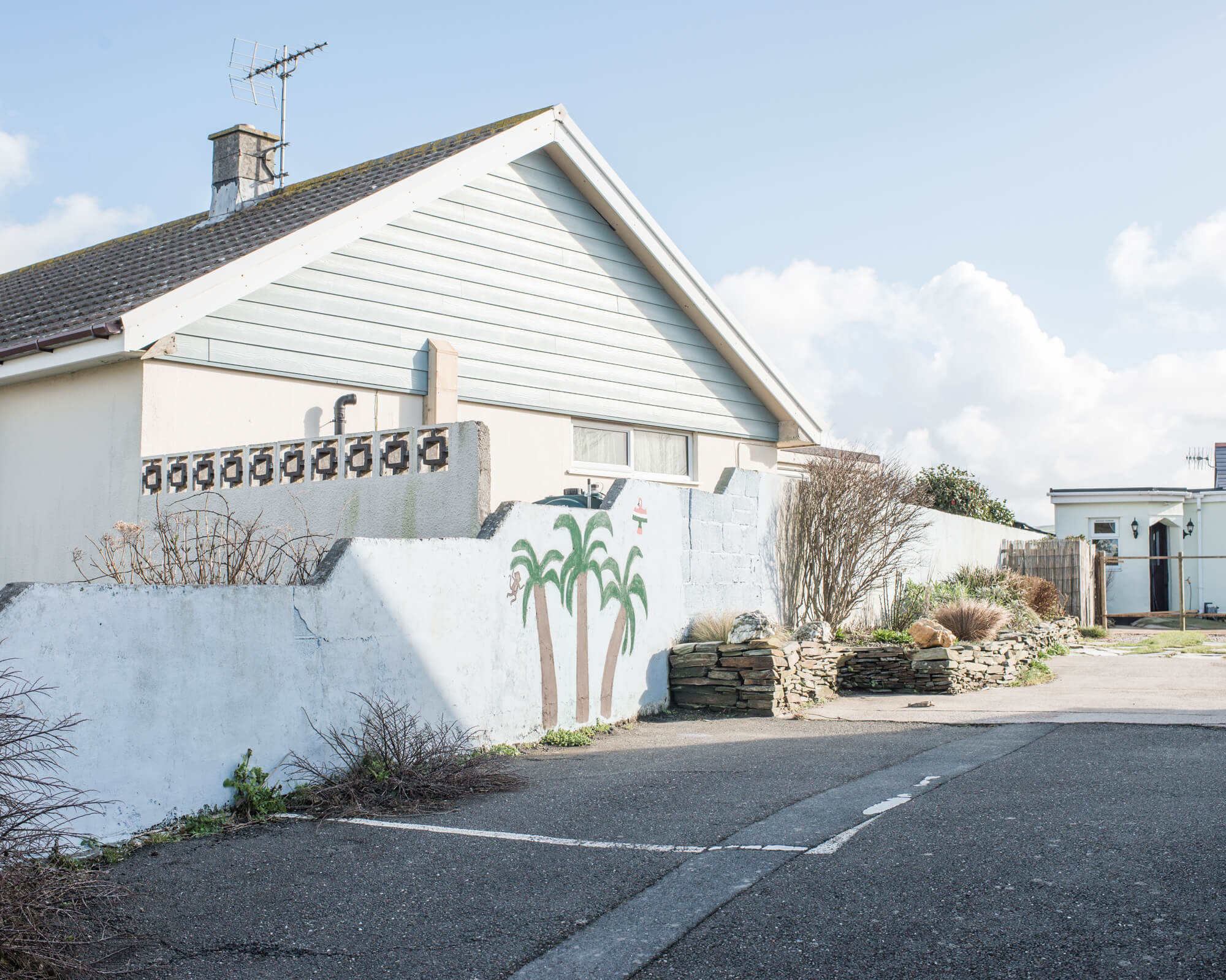 house in sunlight with green palm trees painted on the side of a white wall in Cornwall