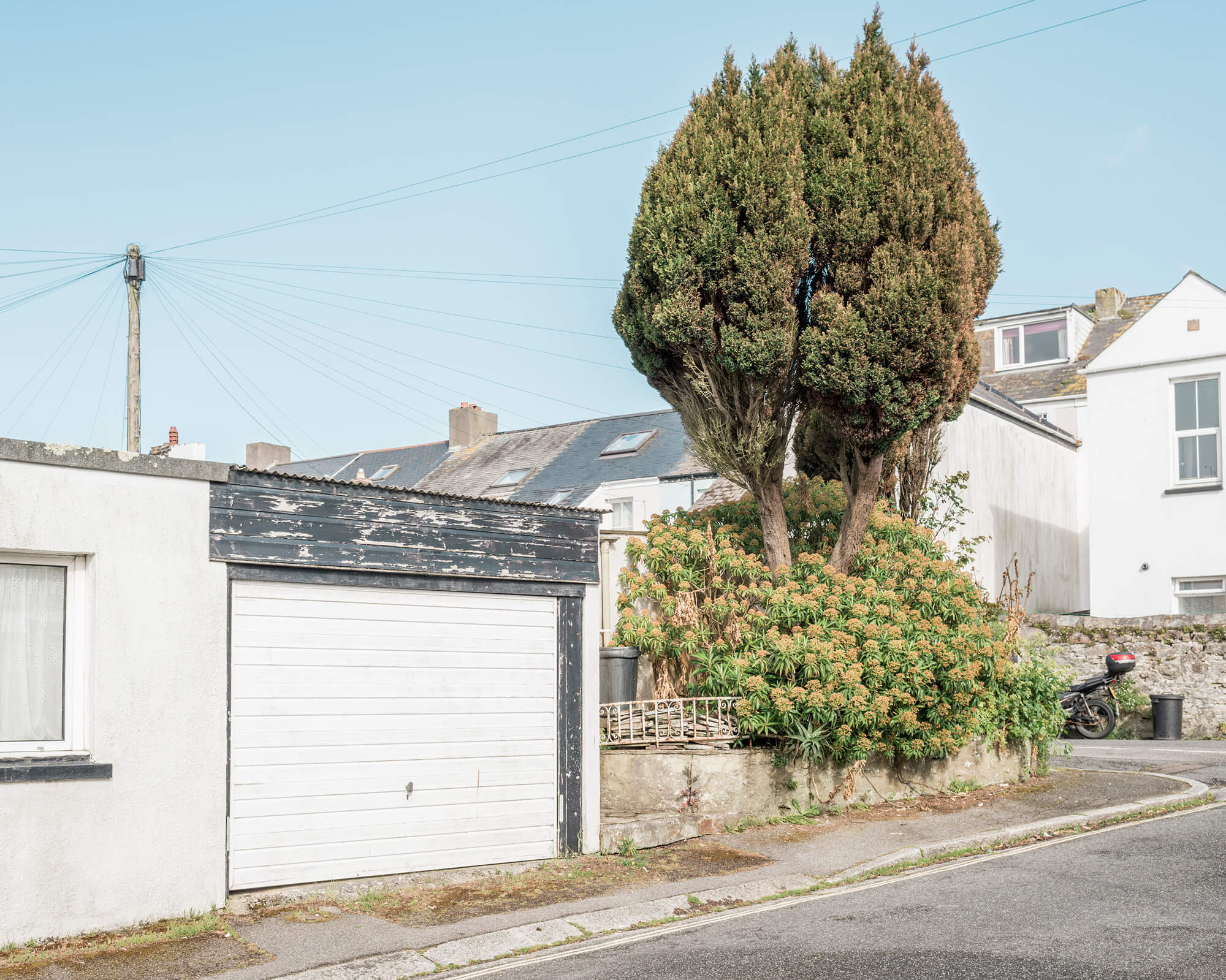 trees and garage in sunlight in Cornwall