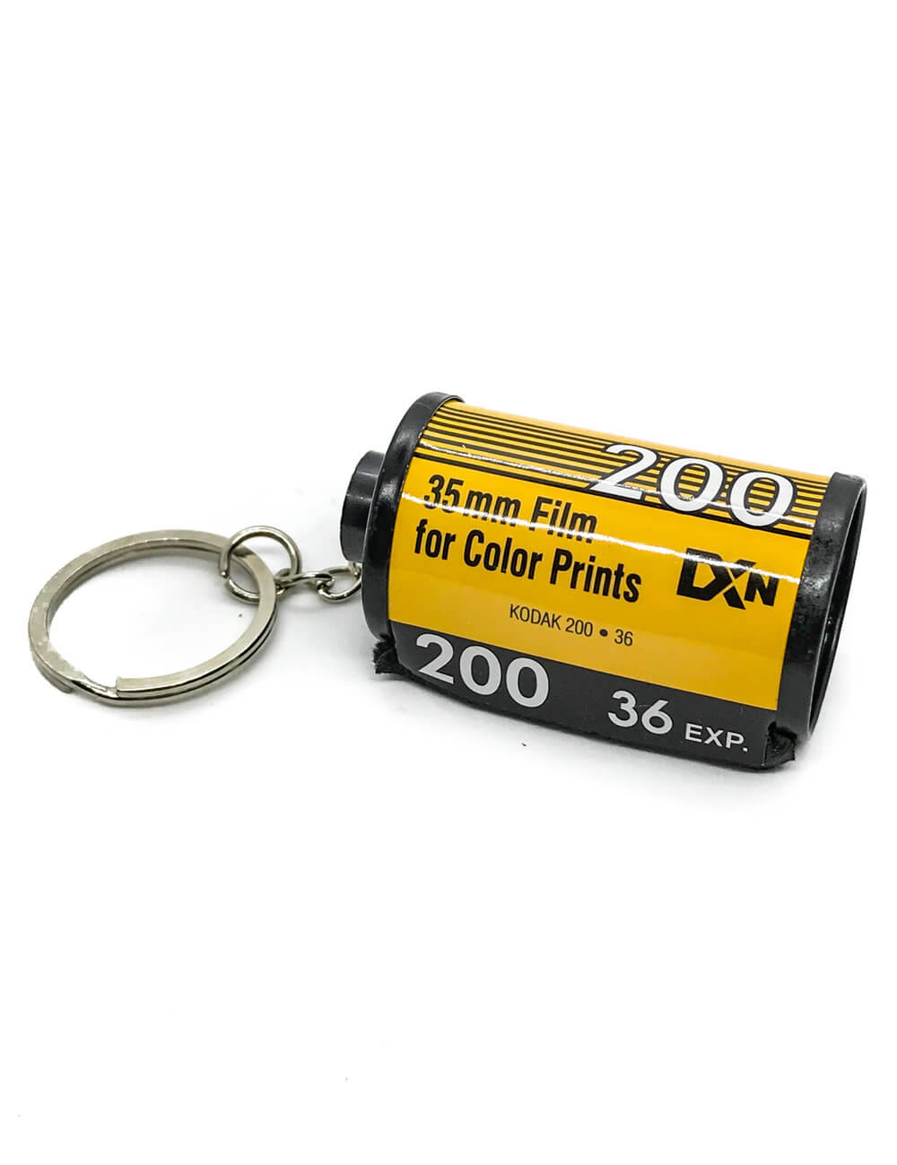 35mm yellow kodak film keychain on white background