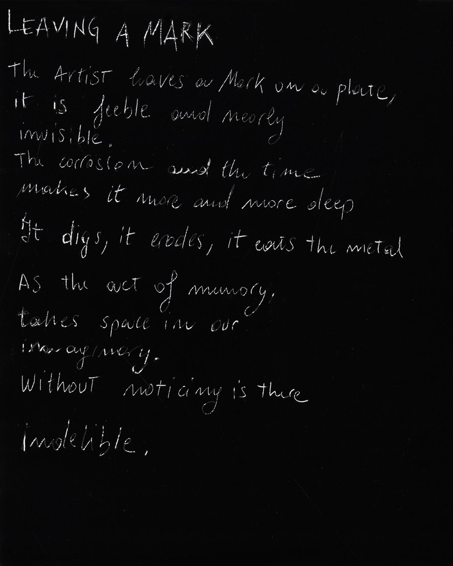white handwriting on black background