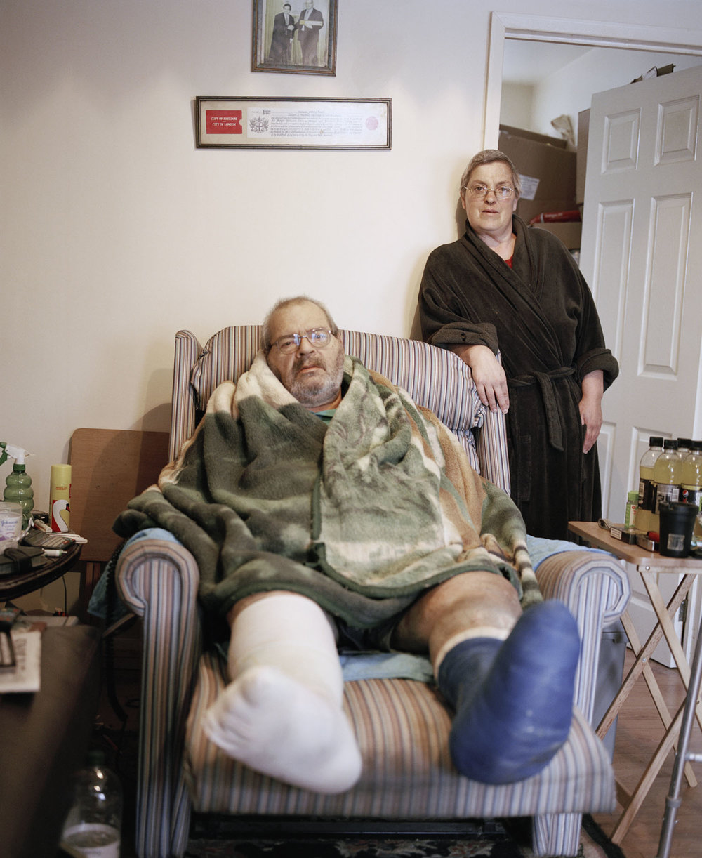 Sandra Mickiewicz Happy Club old couple with broken ankle sat in their home