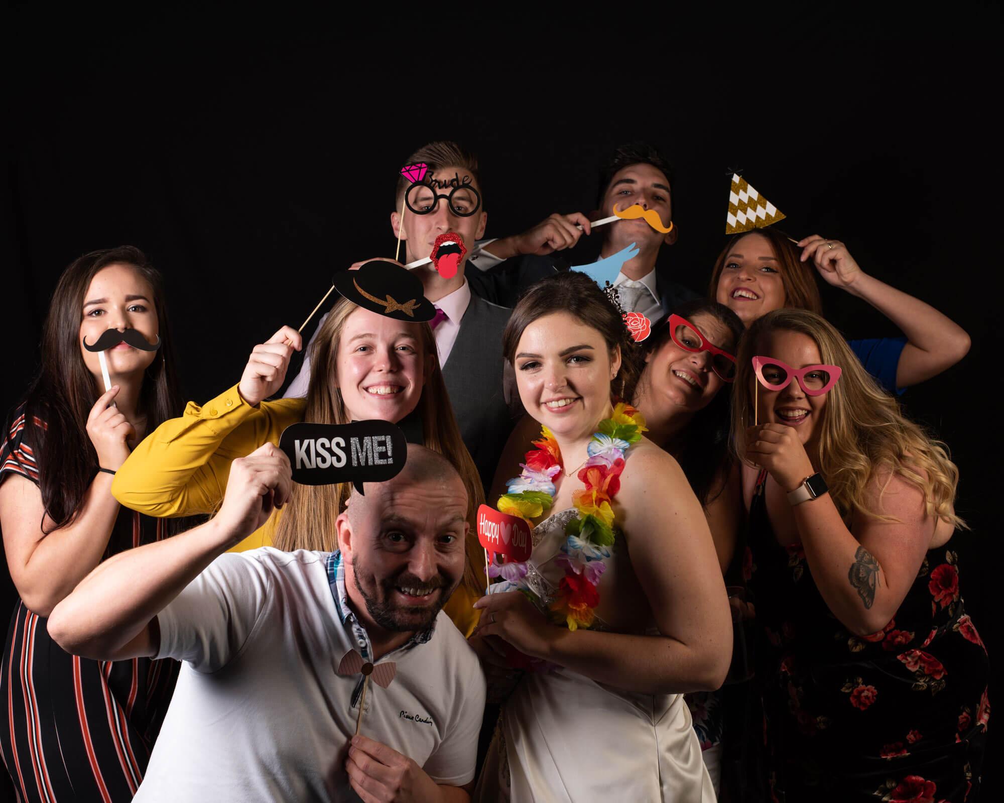 group shot on black background pop up studio