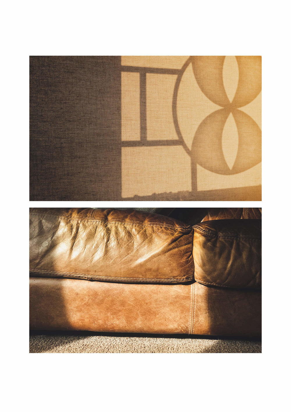 brown leather sofa with sunlight on it