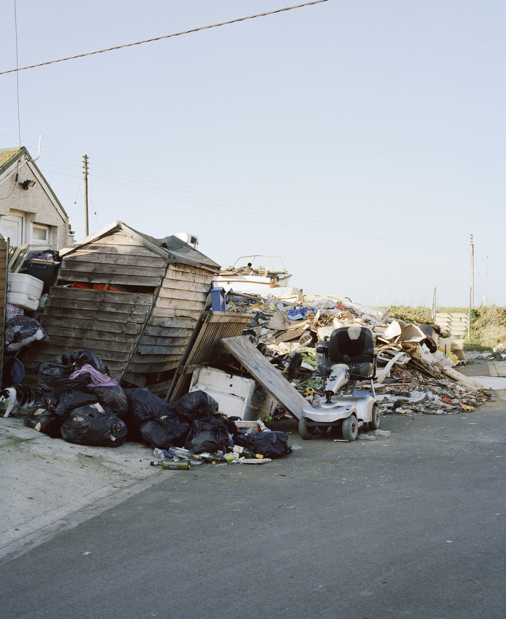 Sandra Mickiewicz Happy Club rubbish and broken sheds on the streets of jaywick