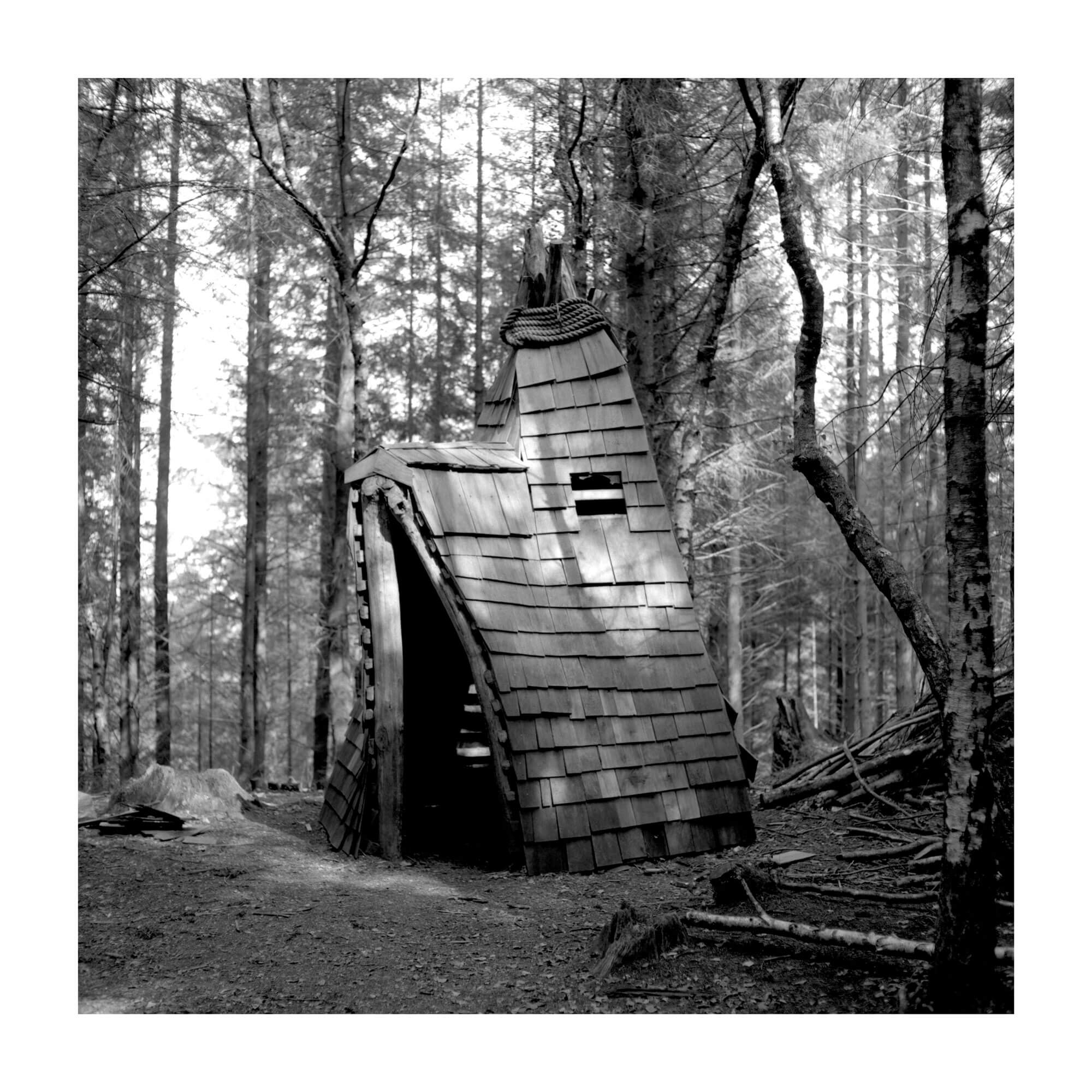 cabin in the woods at sunset black and white handmade vintage print