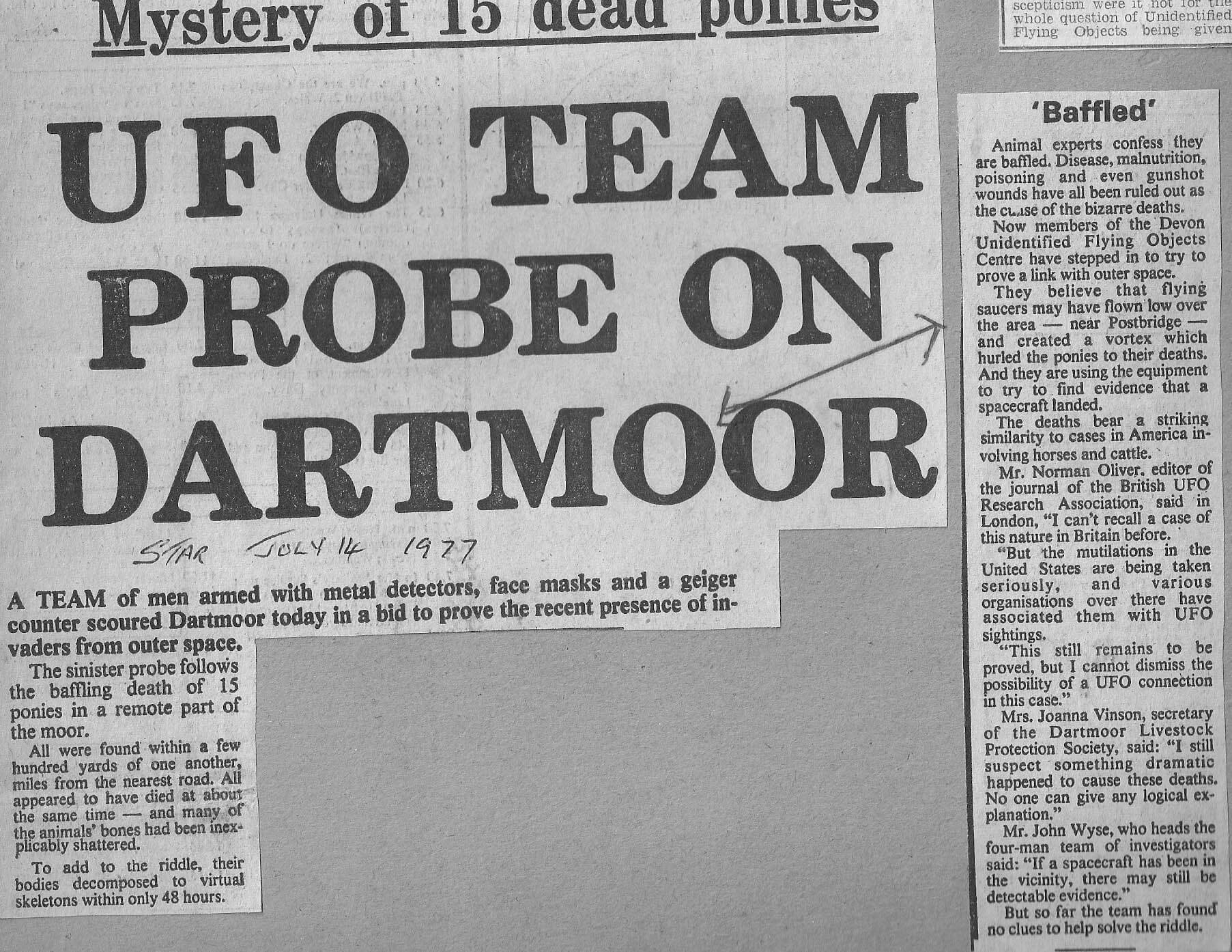 dartmoor ufo newspaper