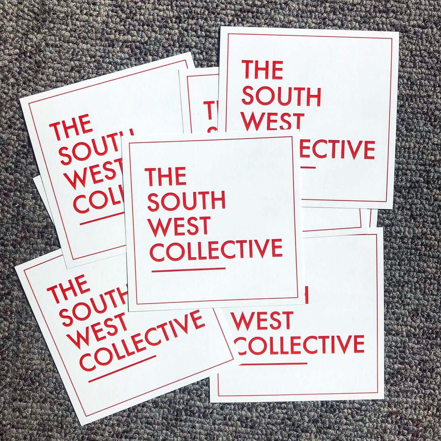 the south west collective stickers on grey background