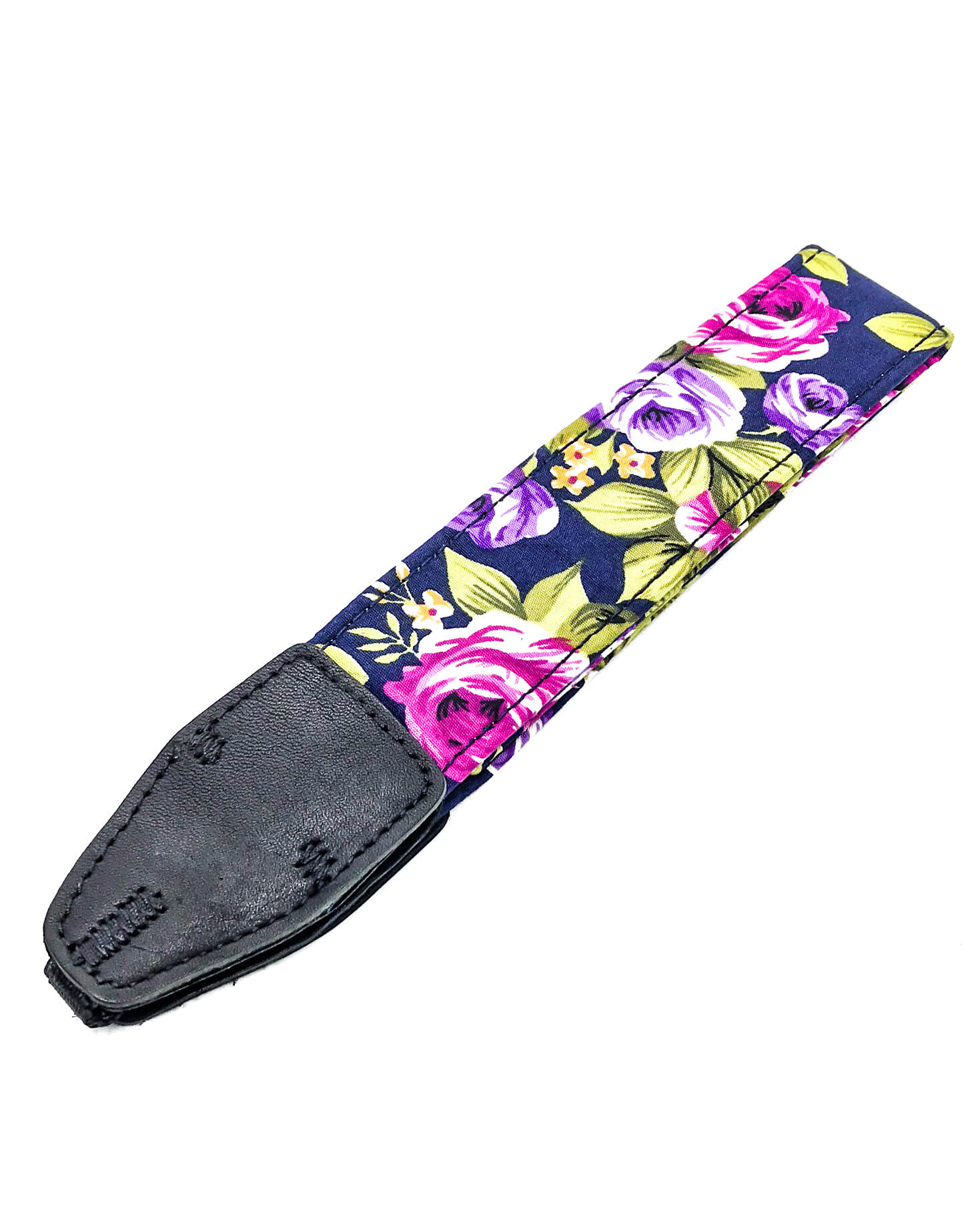 Floral camera strap on white background