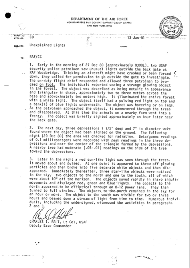 rendlesham forest ufo document