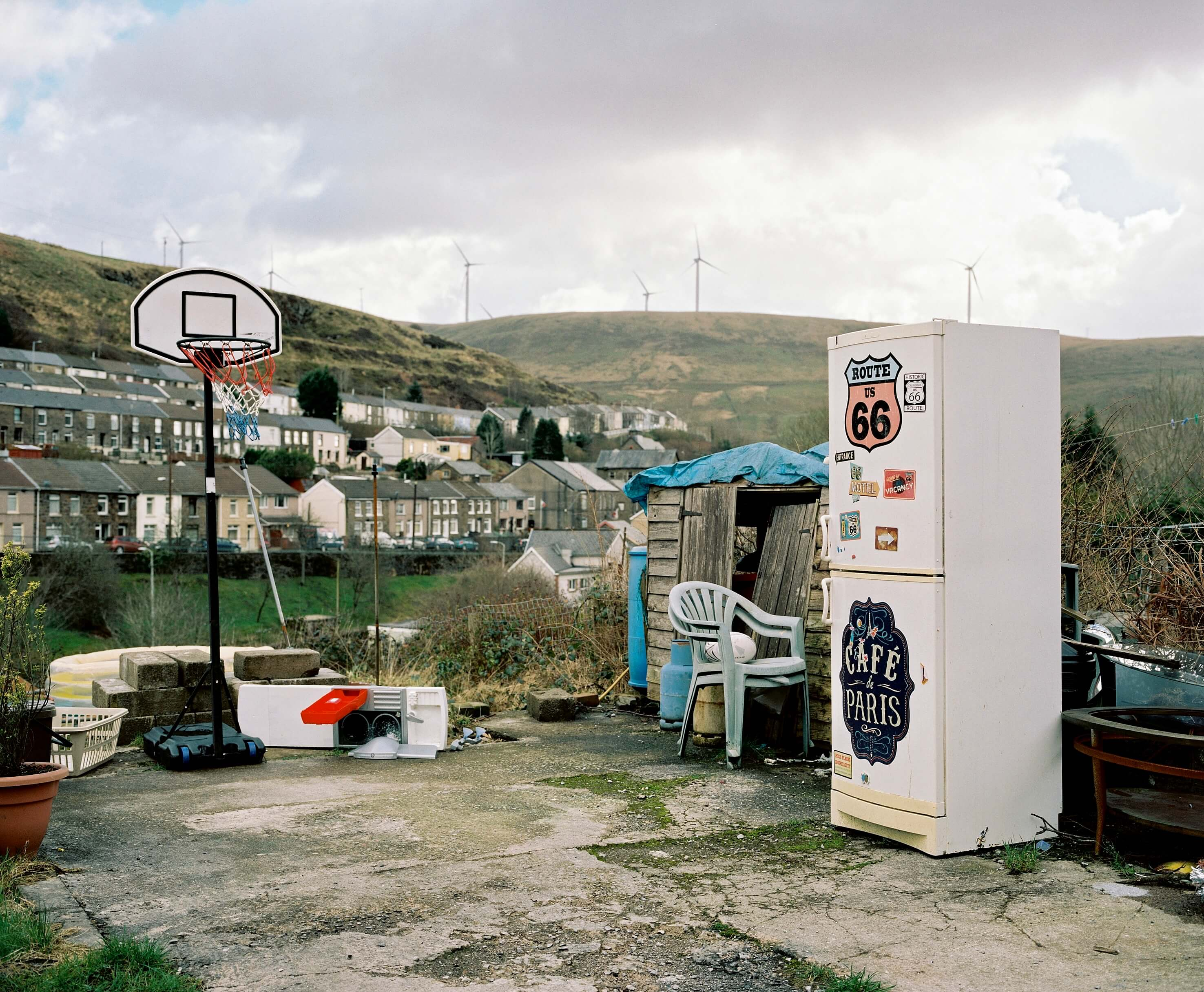 back garden with fridge and basketball court the south west collective of photography