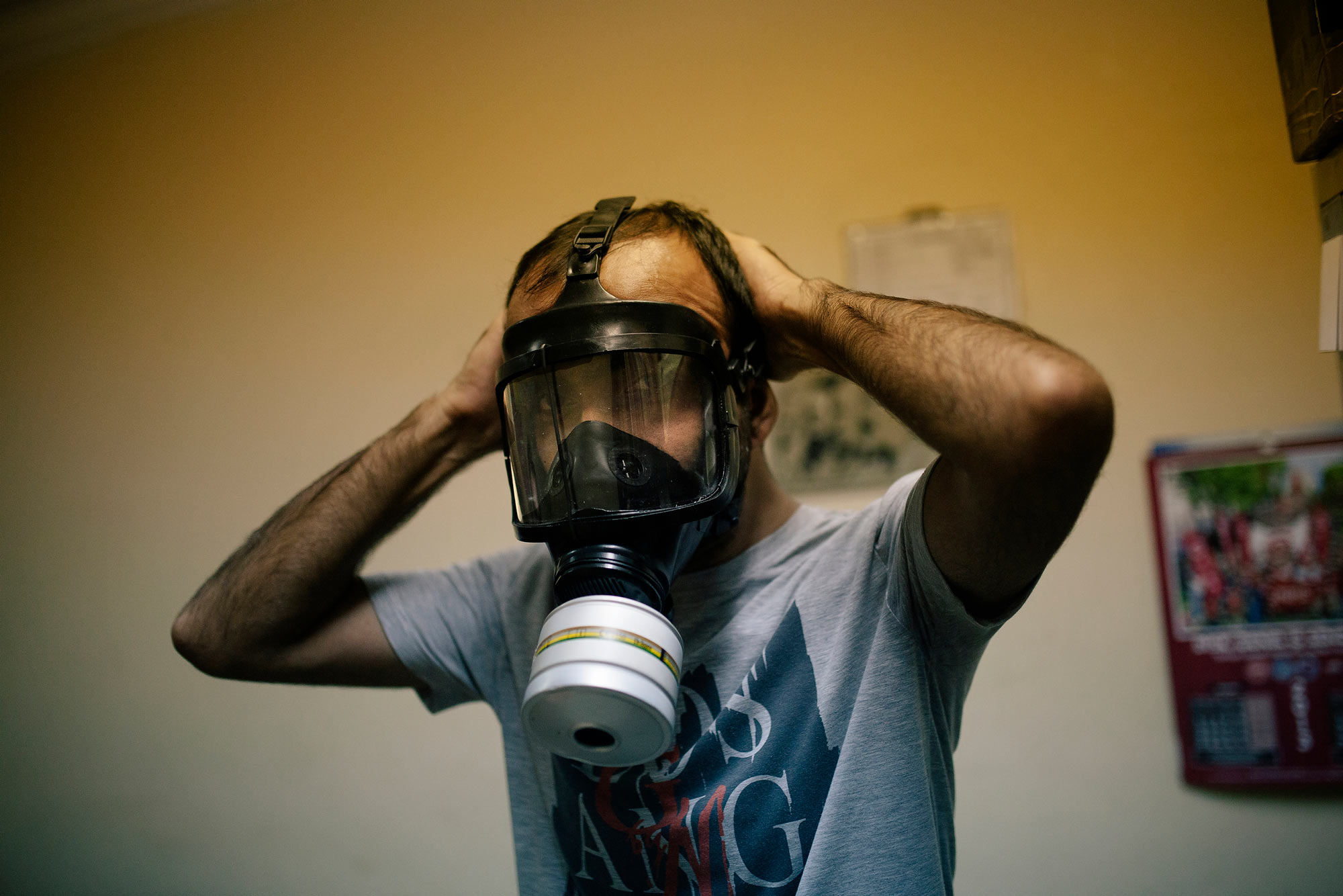 James Arthur Allen free turkey man wearing a gas mask the south west collective of photography