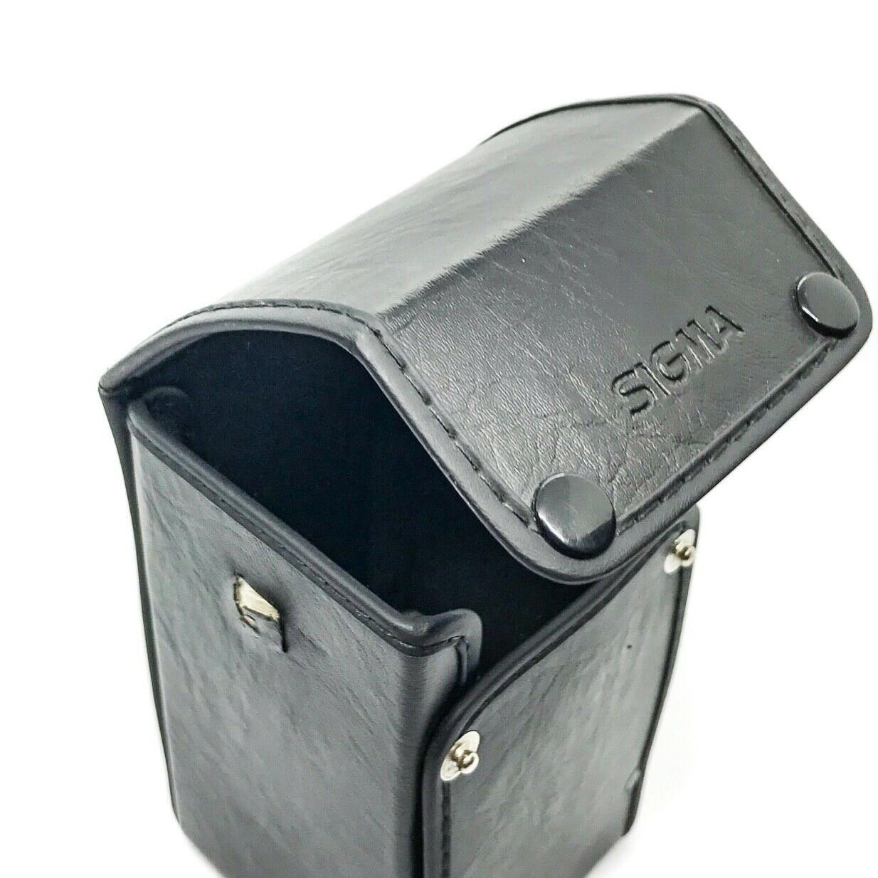 Sigma leather lens case on white background