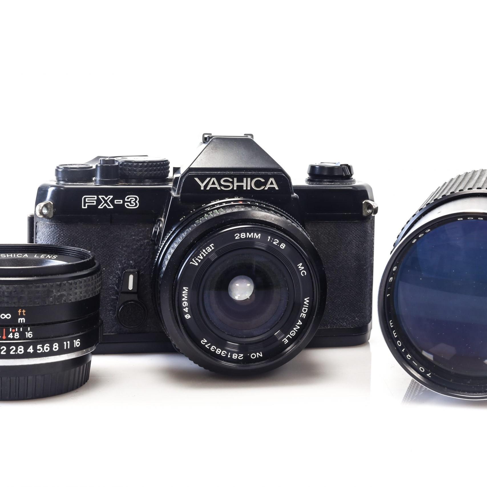 Lovely Yashica FX-3 35mm Film Camera with 28mm Lens + 50mm Lens + 70 - 210mm Lens