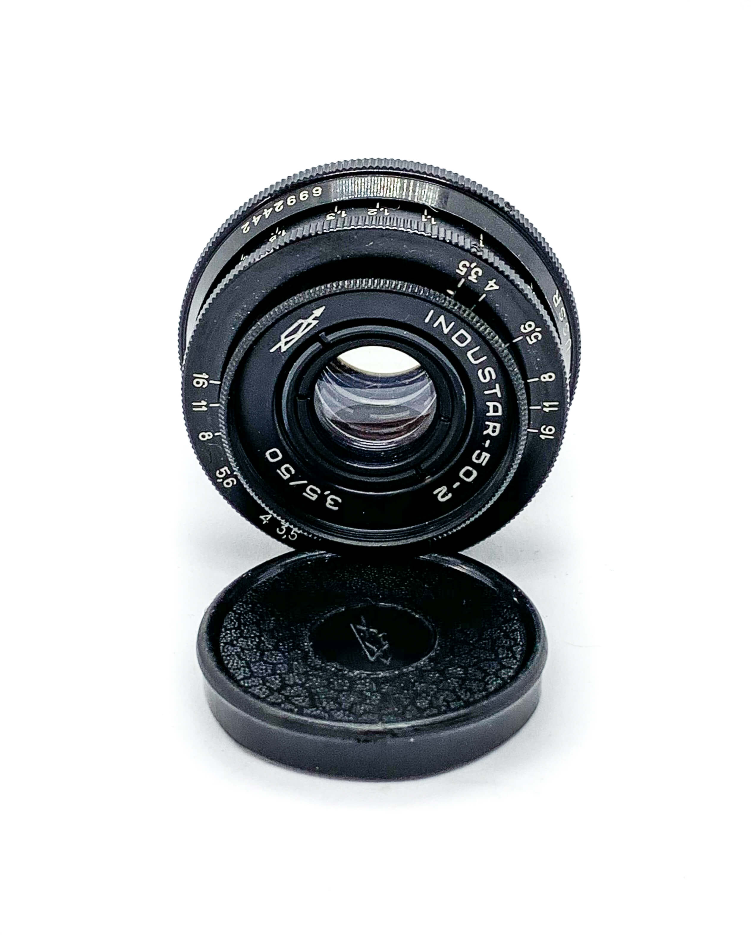 Industar 50mm lens on white background