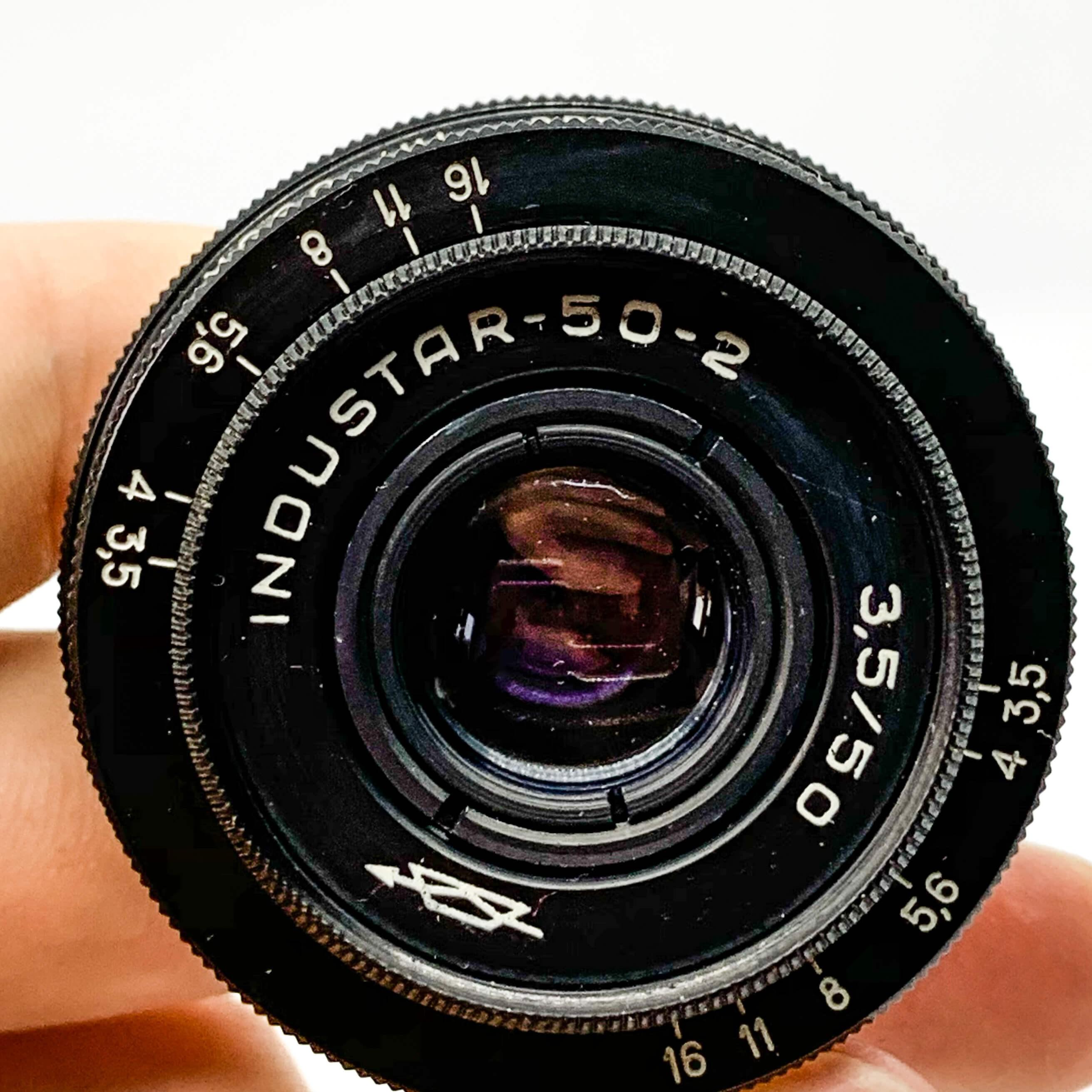 Industar 50mm lens on white background