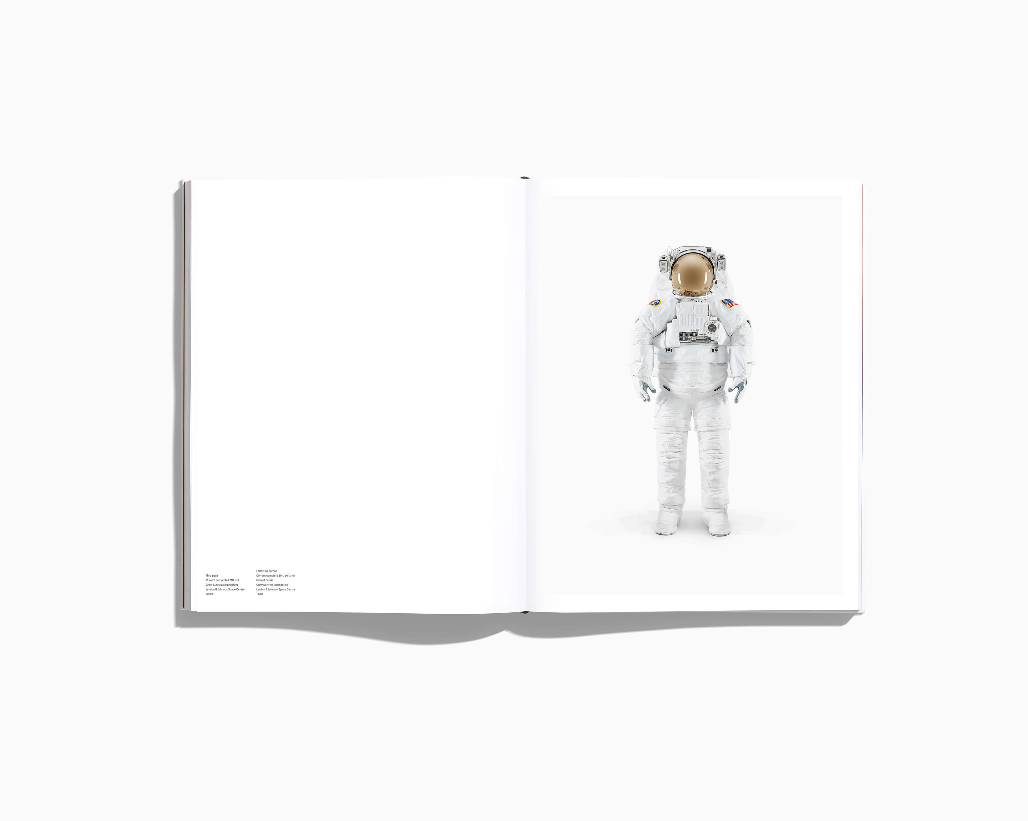 NASA PAST AND PRESET DREAMS OF THE FUTURE - EXTRAVEHICULAR MOBILITY UNIT (EMU) BOOK SPREAD 3500 X 100 copy
