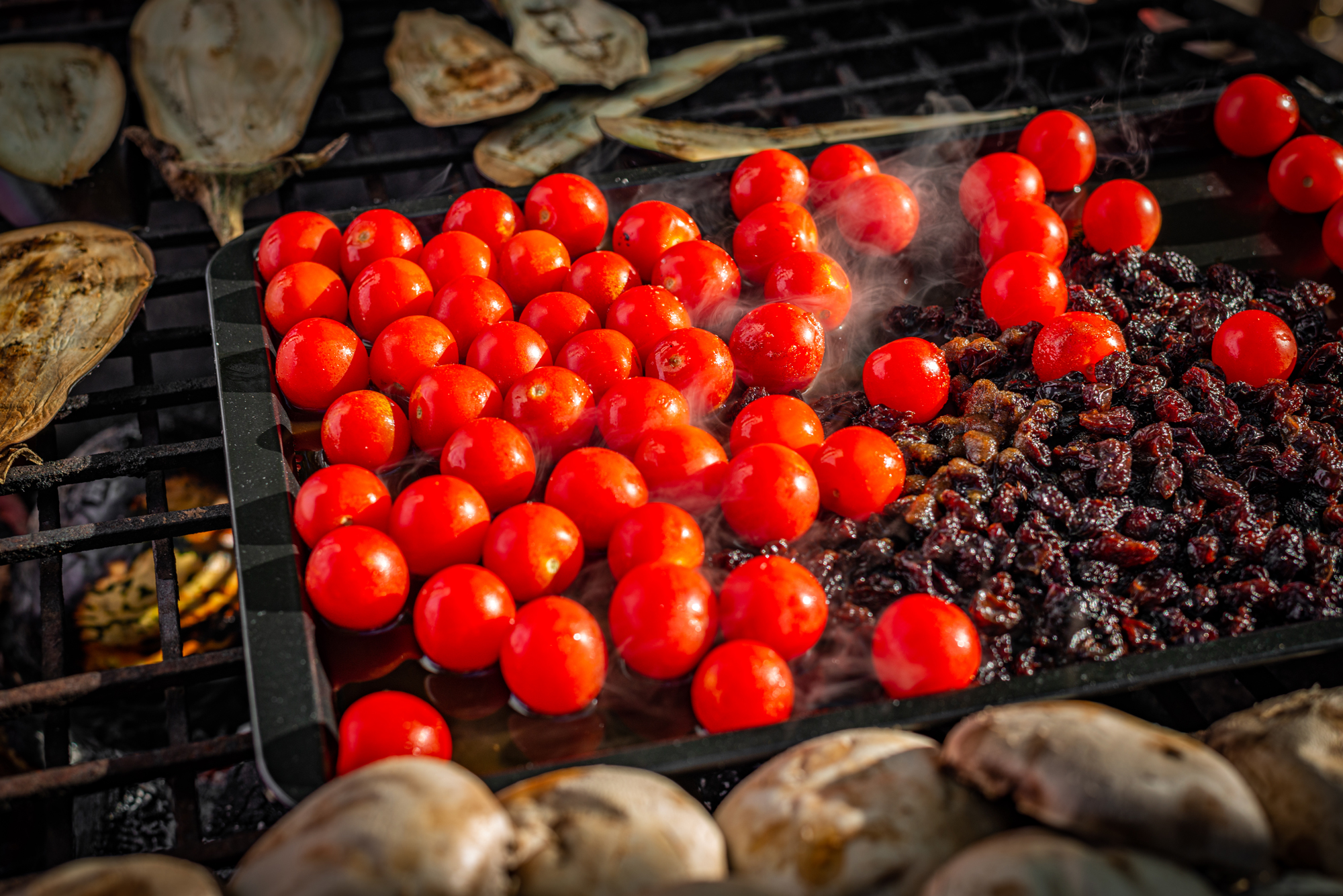 Dartmouth Food Festival 2019 cherry tomatoes on open fire