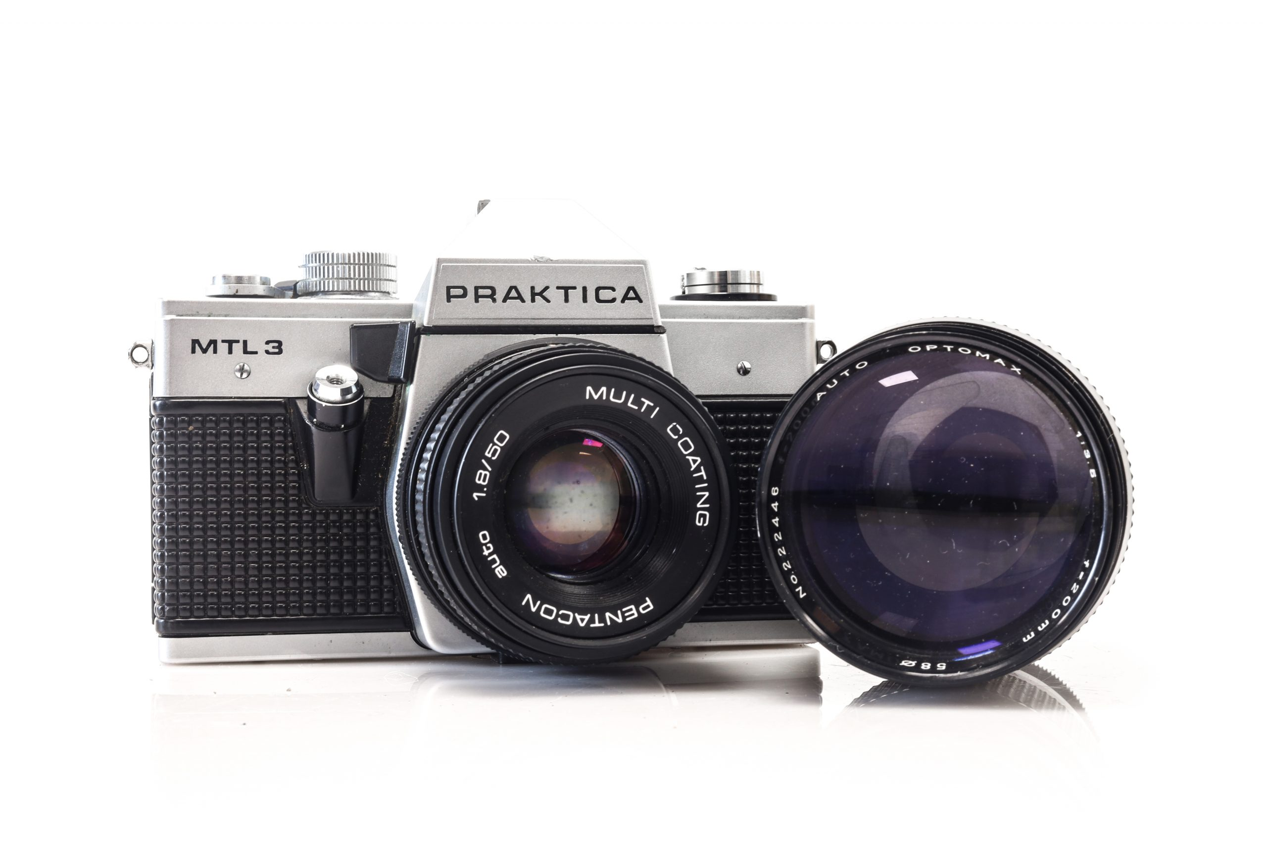 Praktica MTL 3 35mm Film Camera with Optomax 200mm F3.5 Lens + Faulty 50mm Lens