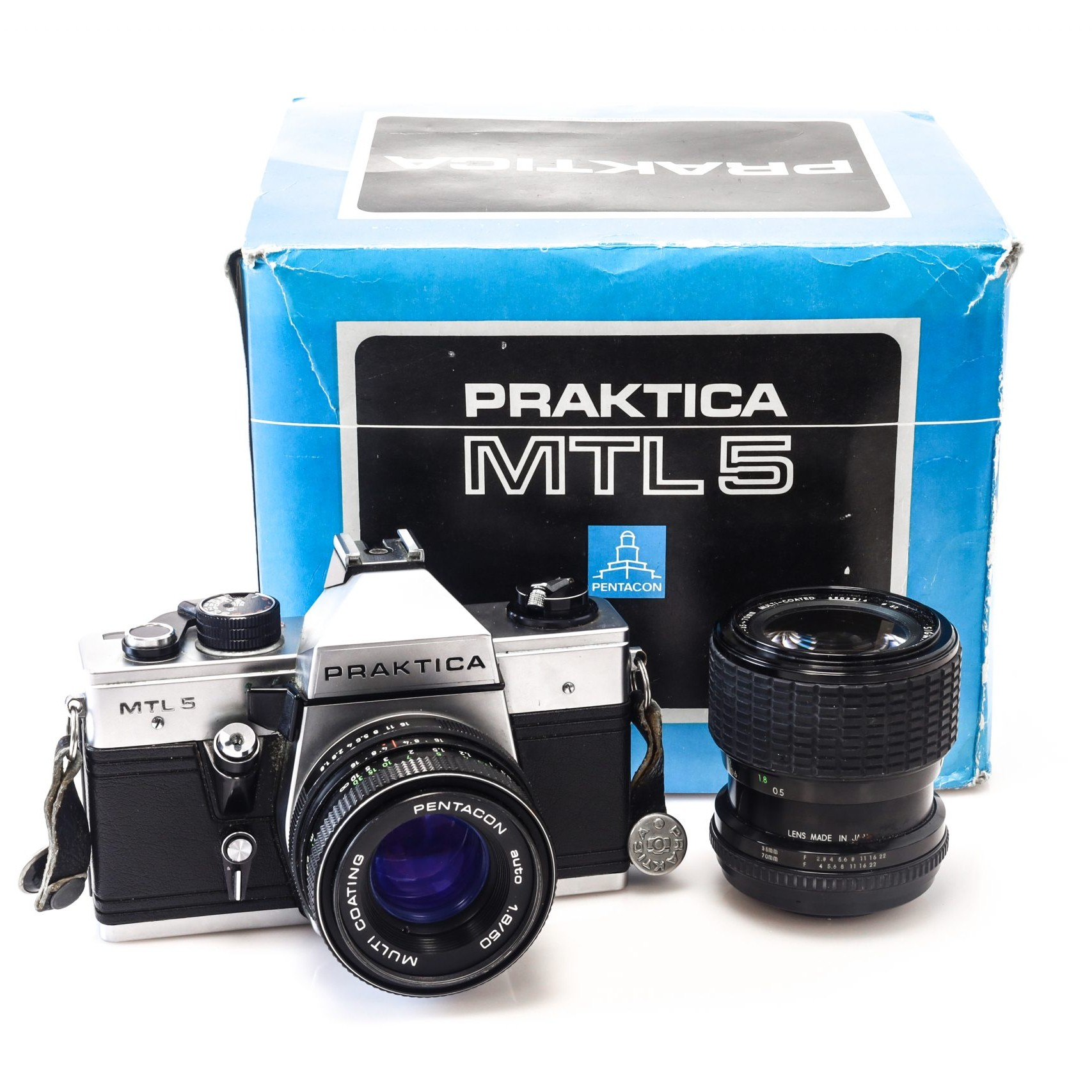 Praktica MTL 5 with 50mm Pentacon Lens + ORIGINAL BOX + Faulty Sigma 35-70mm Lens