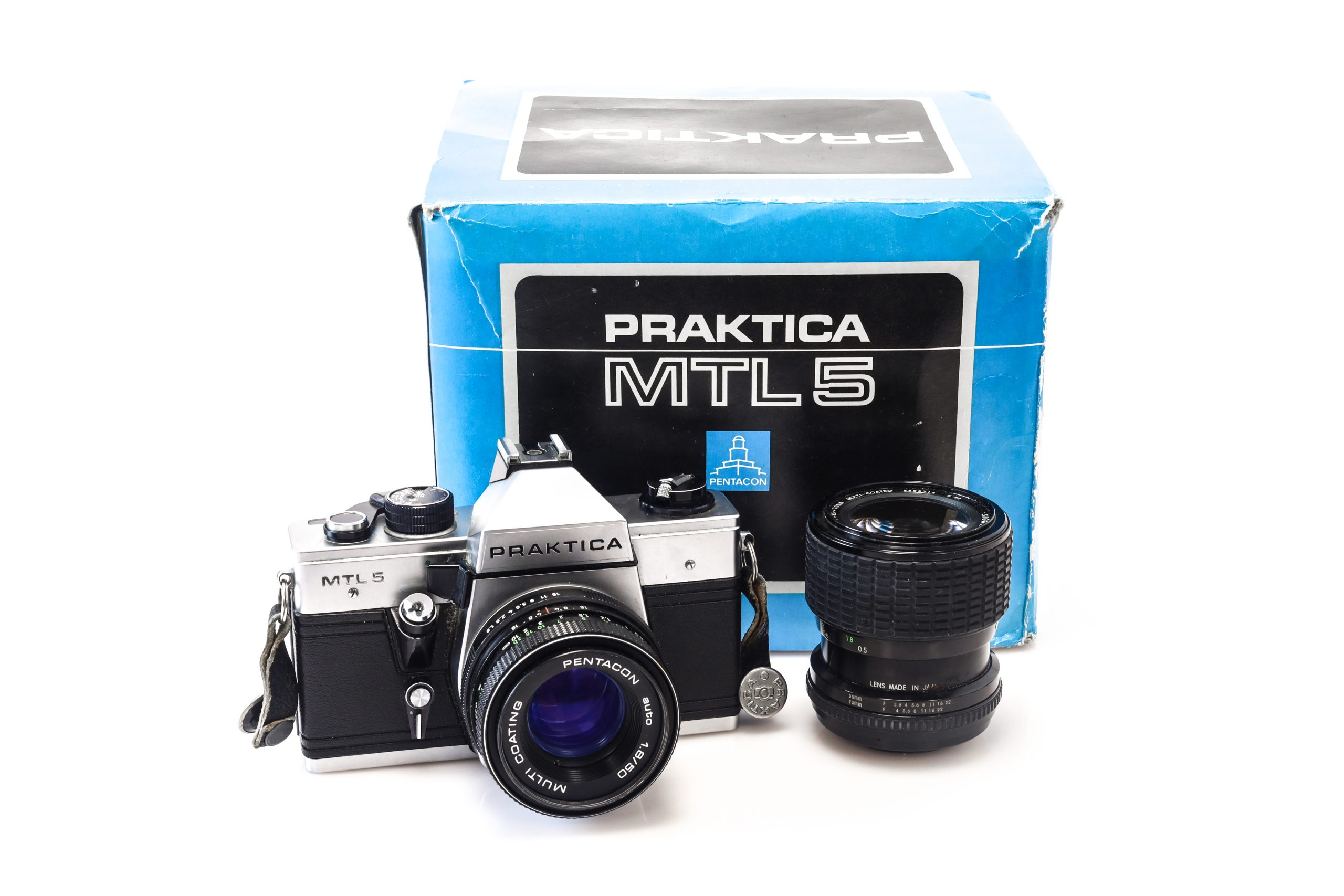 Praktica MTL 5 with 50mm Pentacon Lens + ORIGINAL BOX + Faulty Sigma 35-70mm Lens
