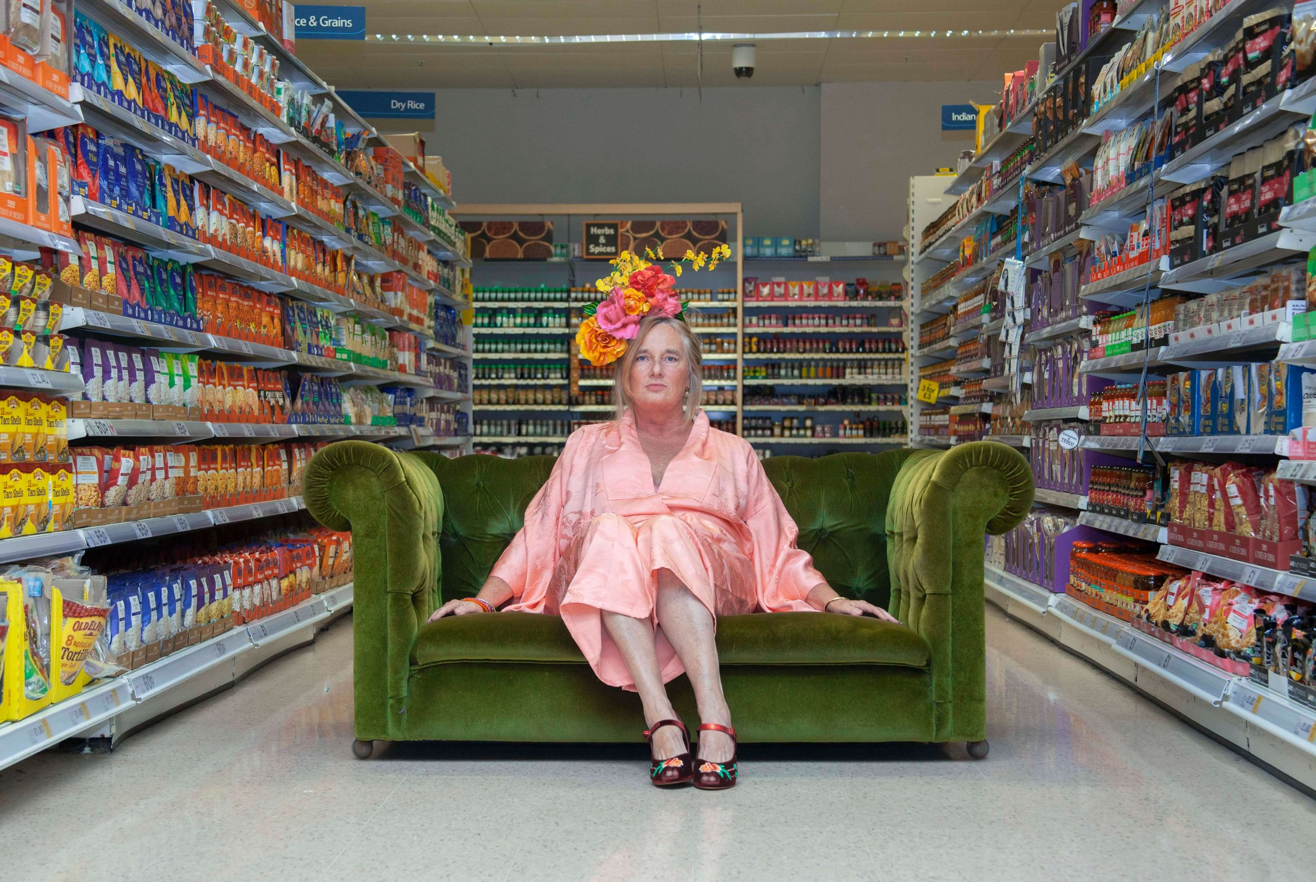 Ruby Steel, Women on Sofas, the south west collective of photography, women sat on sofa in supermarket isle