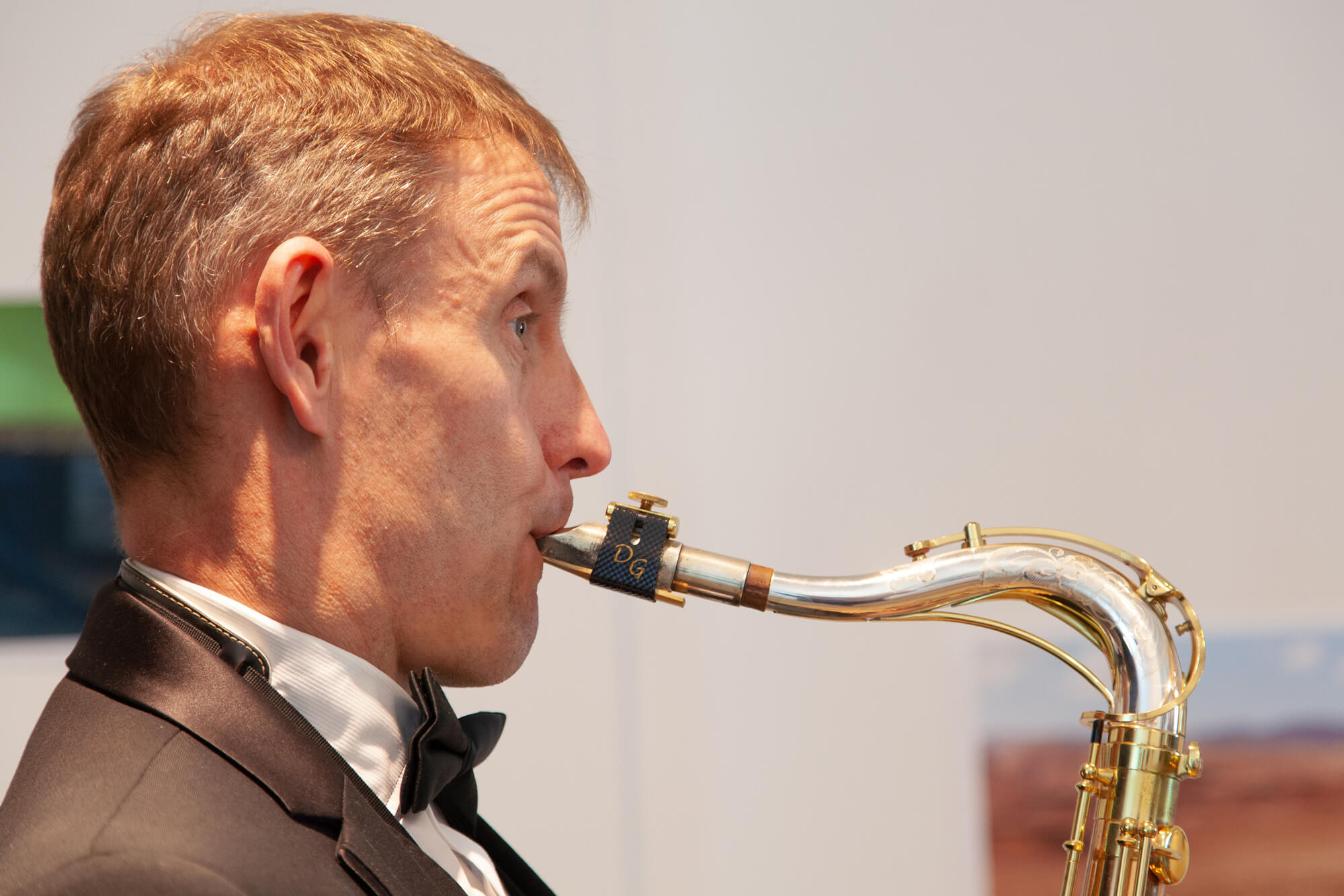The South West Collective of photography visual storytelling photography exhibition Saxophone player Tim Watson