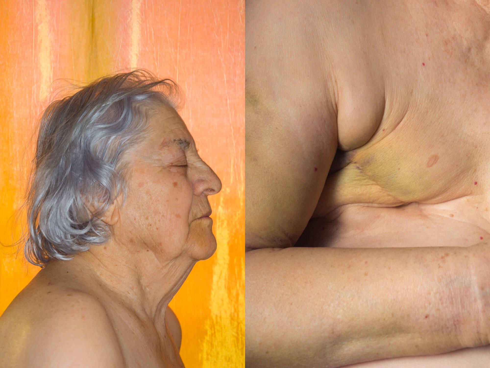Beatriz Temudo - Olinda the south west collective old women sat naked with orange background
