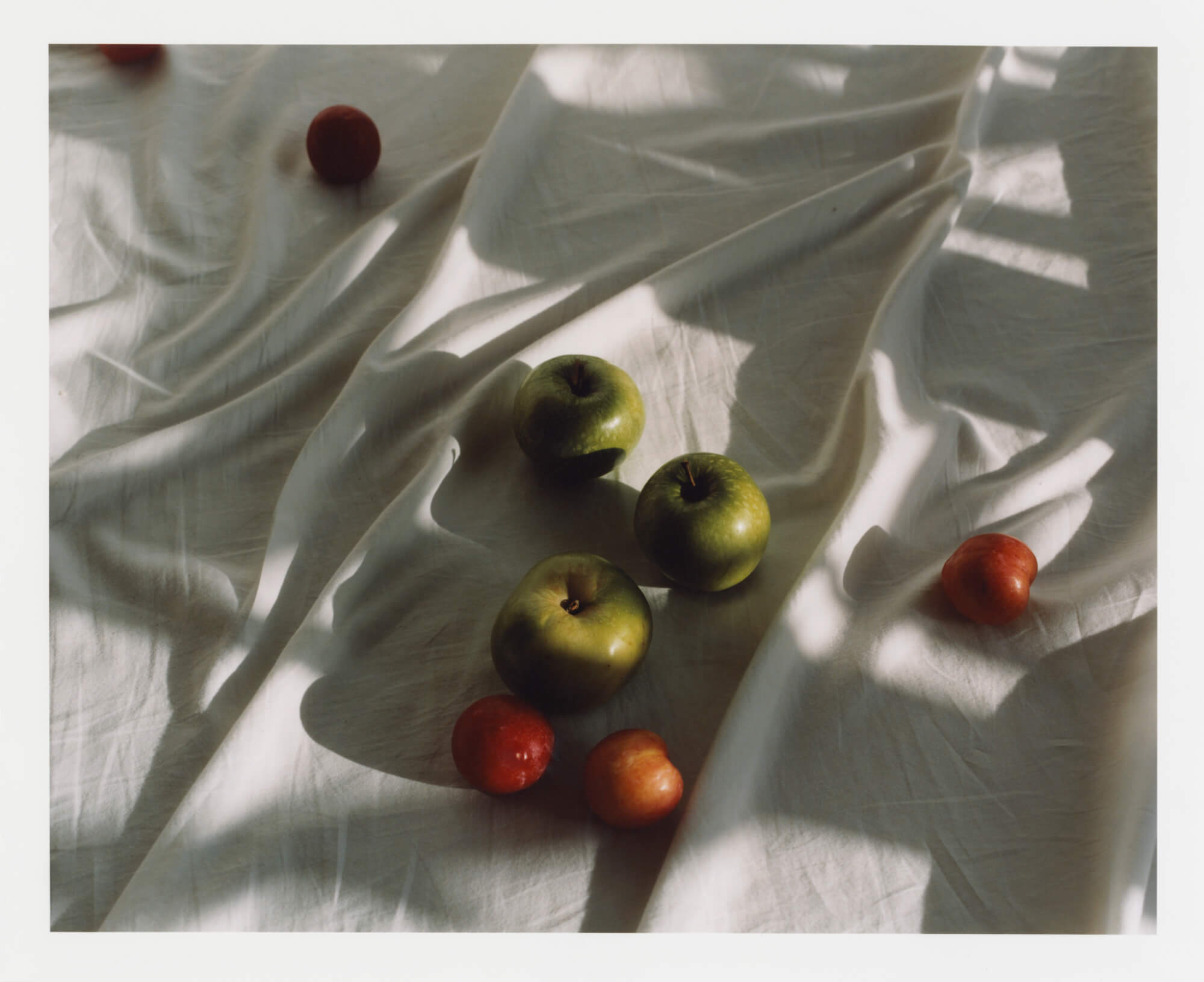 Phoebe Somerfield - Grapefruit Boulevard the south west collective of photography green apples and red apples on white bed sheet