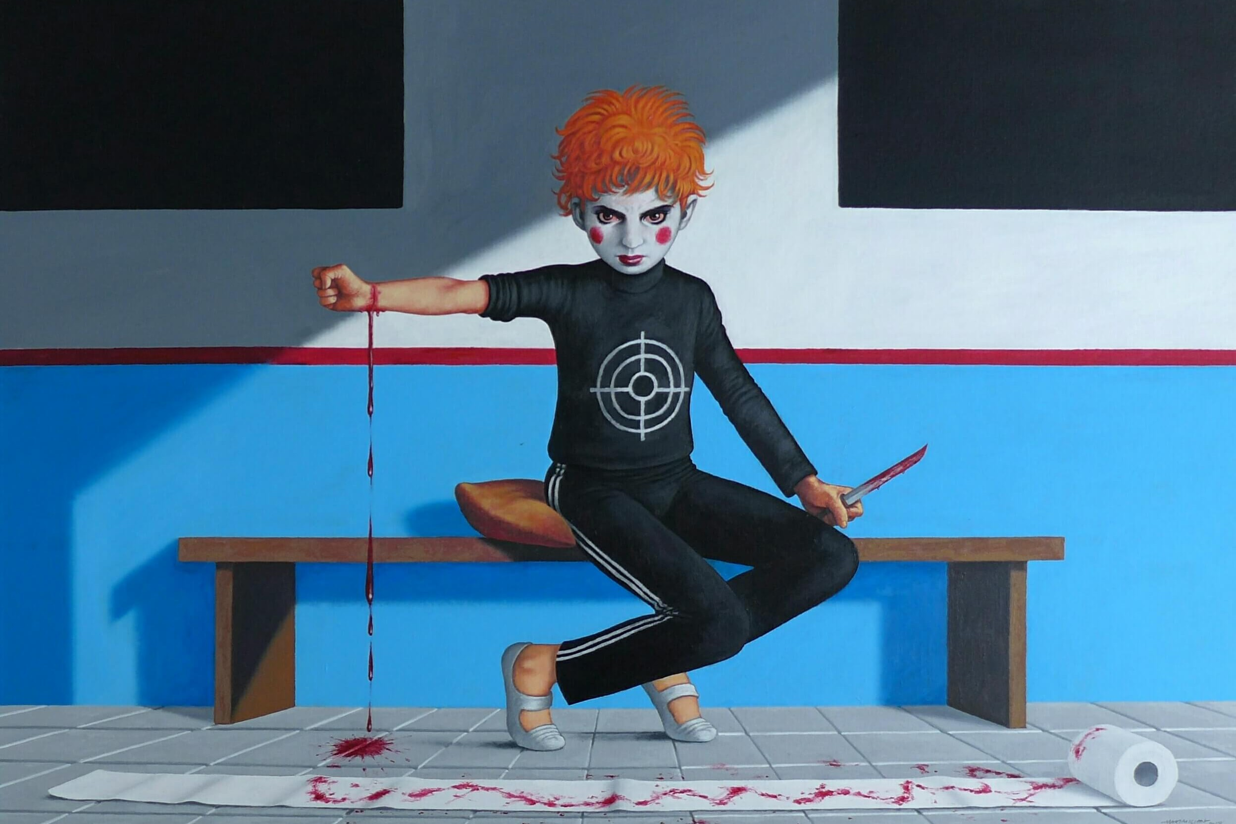 Massimiliano Esposito - Paintings the south west collective of photography boy dressed as clown cutting his own wrists