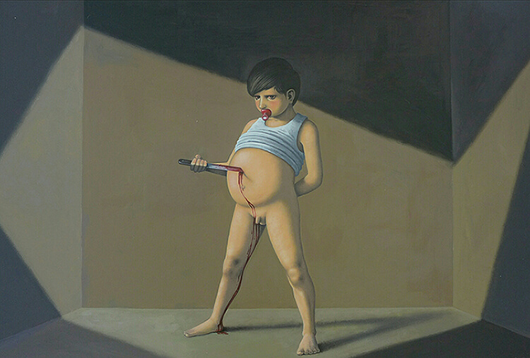 Massimiliano Esposito - Paintings the south west collective of photography boy with knife in stomach