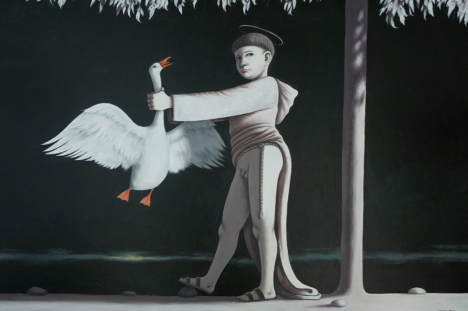 Massimiliano Esposito - Paintings the south west collective of photography man holding swan by the neck