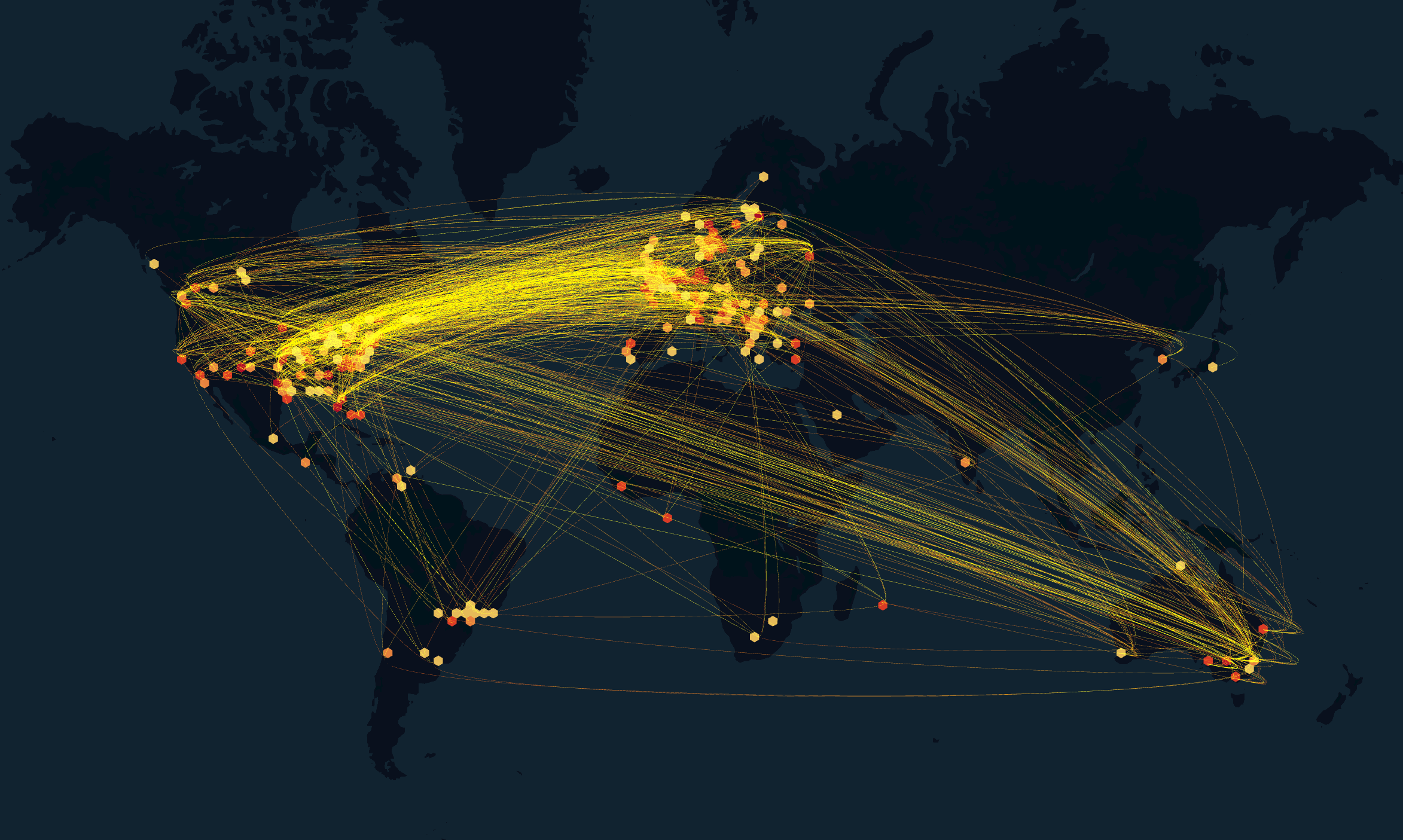 Still from a data visualisation showing the worldwide flow of Iron March messages over five years the south west collective of photography ltd