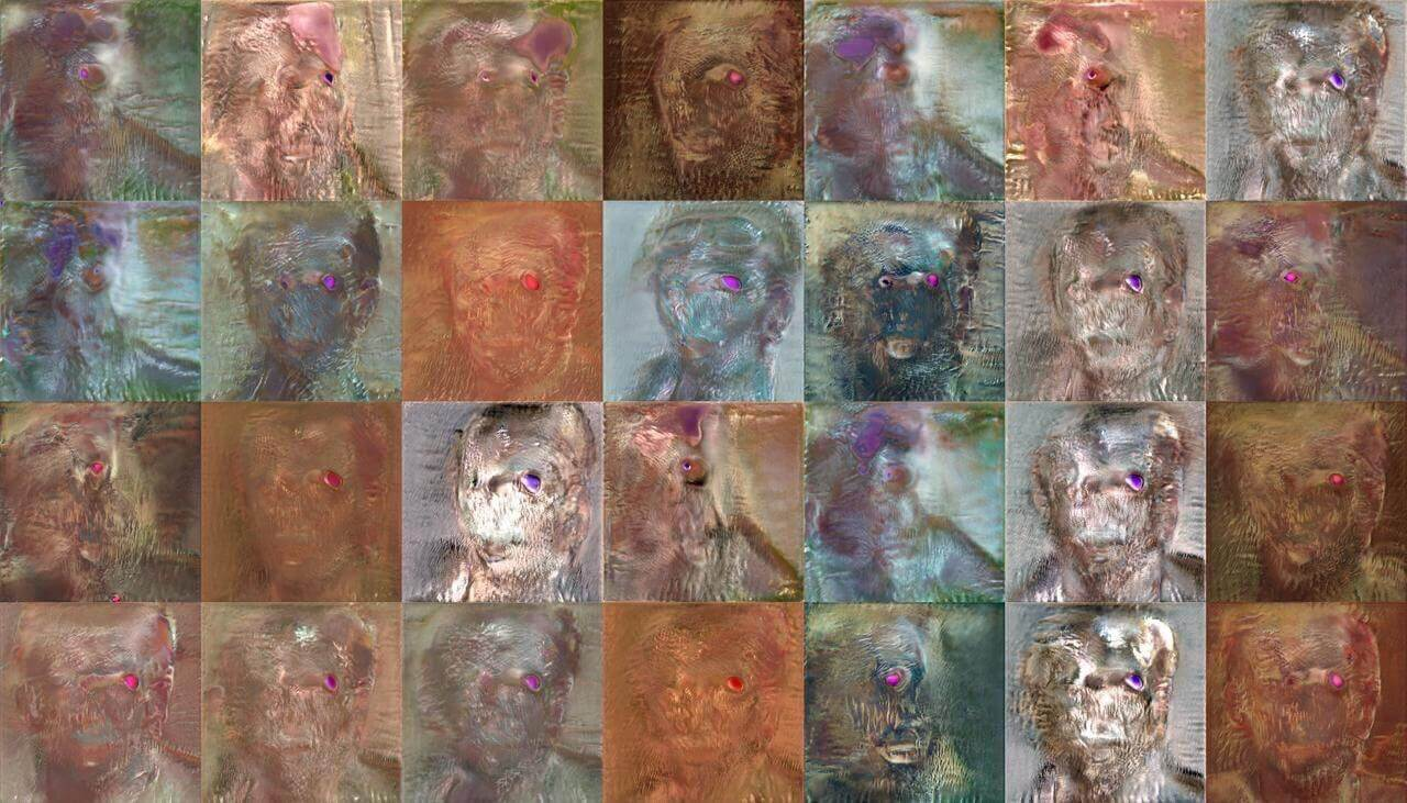 Set of generated 'faces' from part way through a discarded GAN test the south west collective
