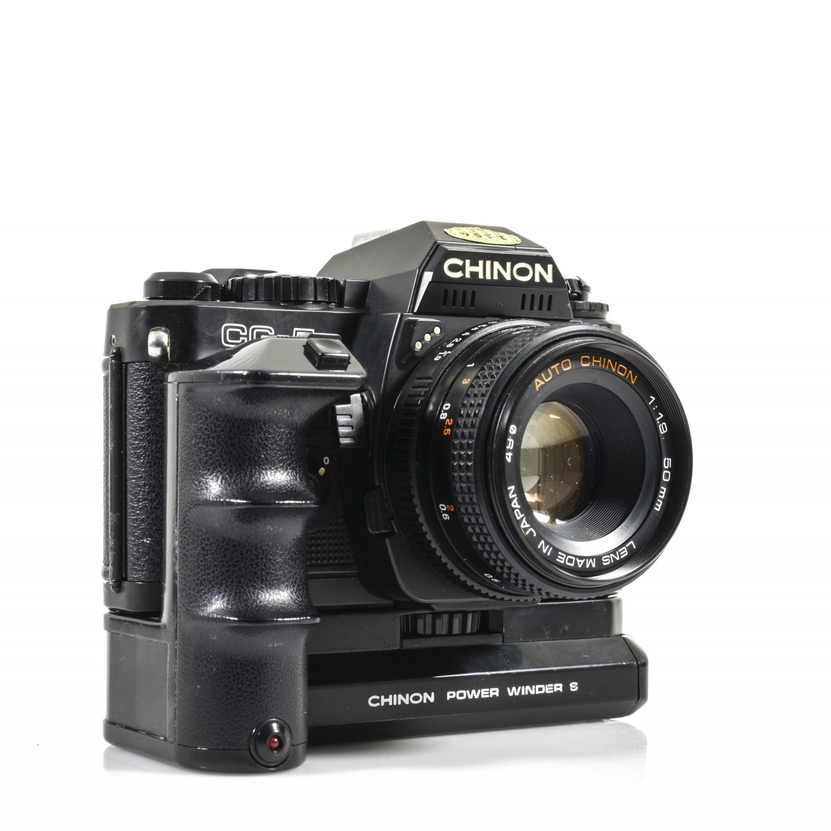 Brilliant Chinon CG-5 35mm Film Camera with Auto Chinon 50mm F1.9 Lens plus Power Film Winder and Battery Grip