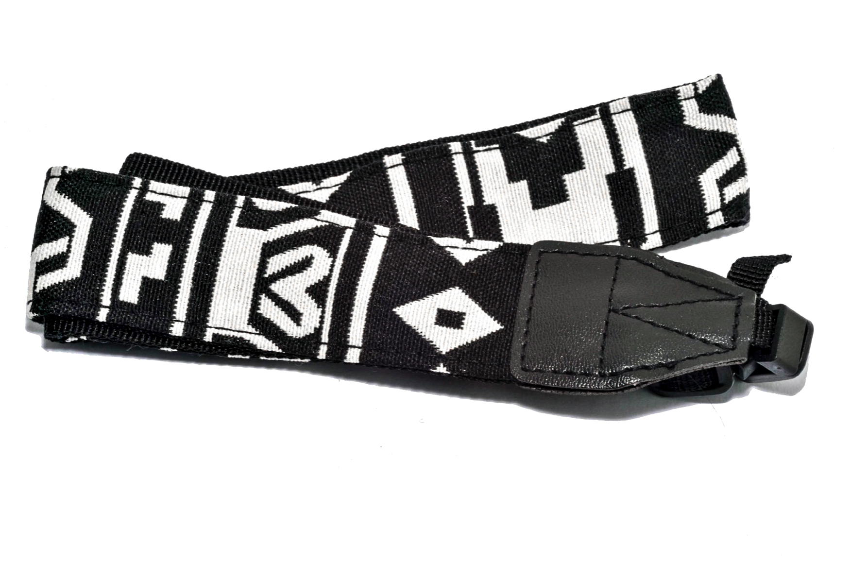 Retro Black and White Patterned Camera Strap for sale on The South West Collective of Photography Ltd