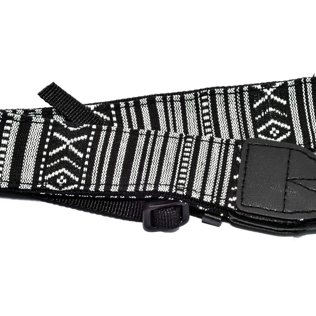 Retro Black and White Striped Camera Strap