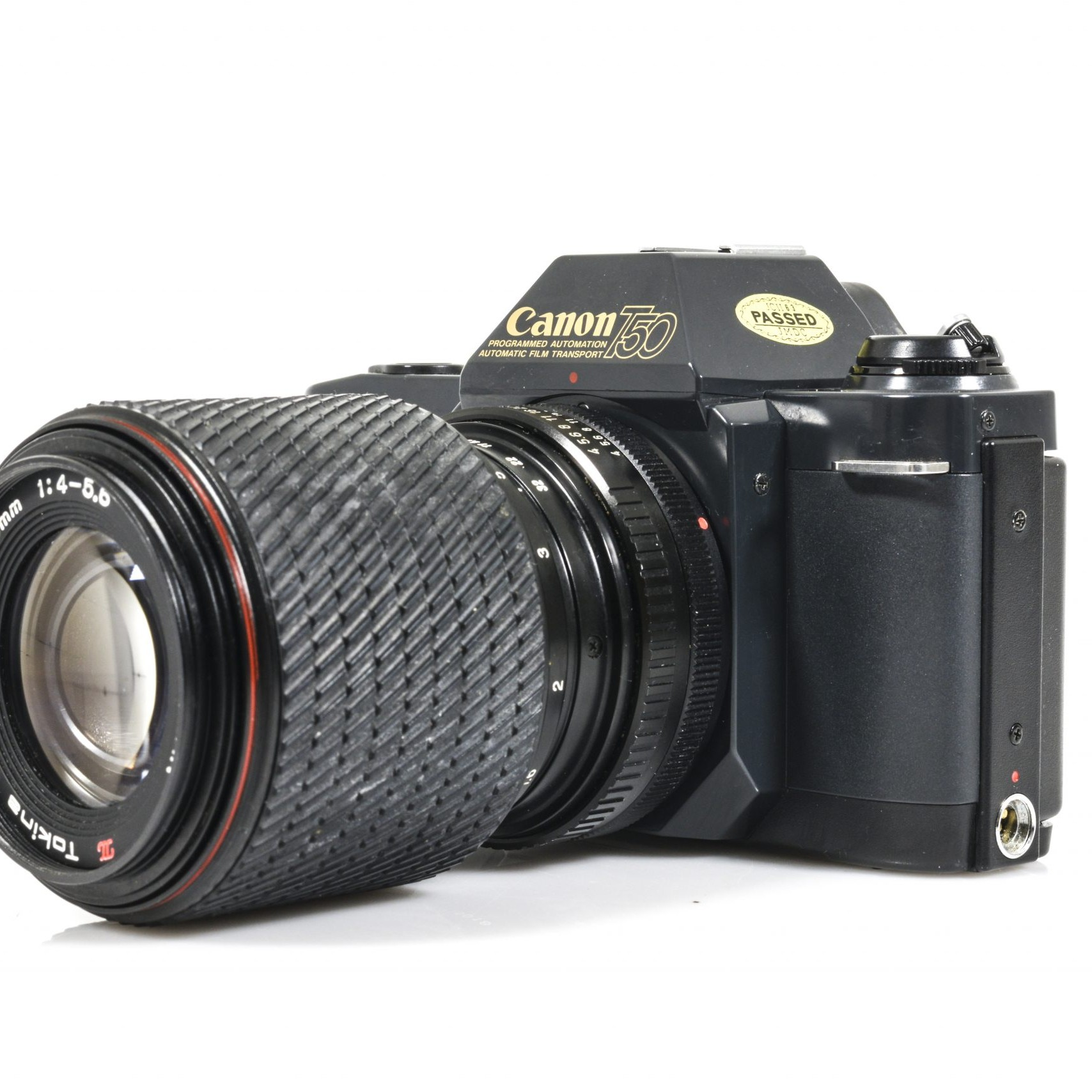 Canon T50 35mm Film Camera with Tokina 70-210mm F4-5.6 Lens