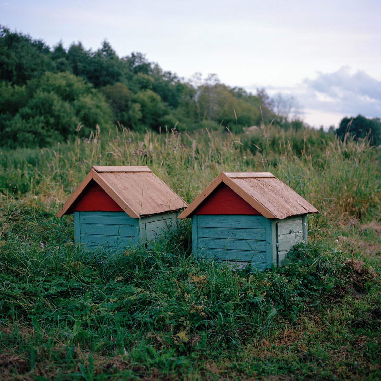 Kadri Otsiver - Ta aed on tema nägu (Her garden has her face) Two small animal houses within the landscape