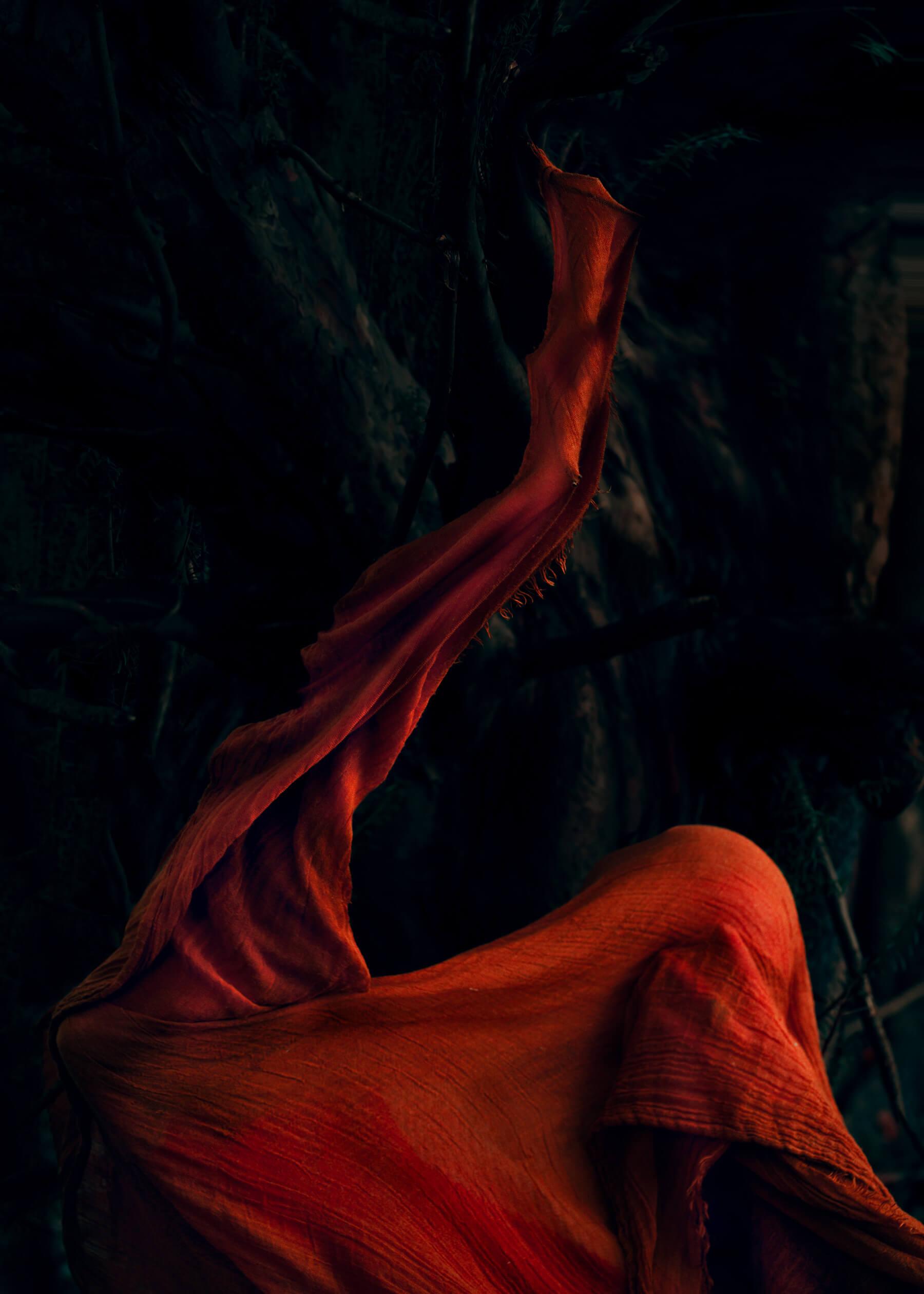Nadja Ellinger - Path of Pins red sheet on beach