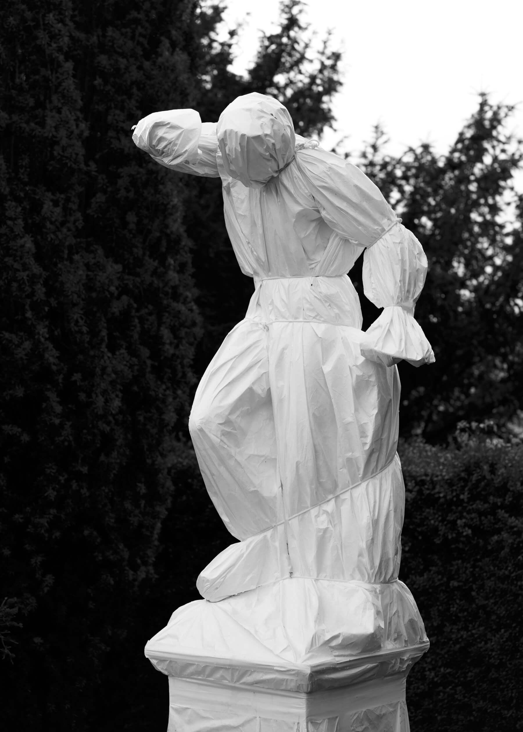 Nadja Ellinger - Path of Pins sculpture covered im plastic