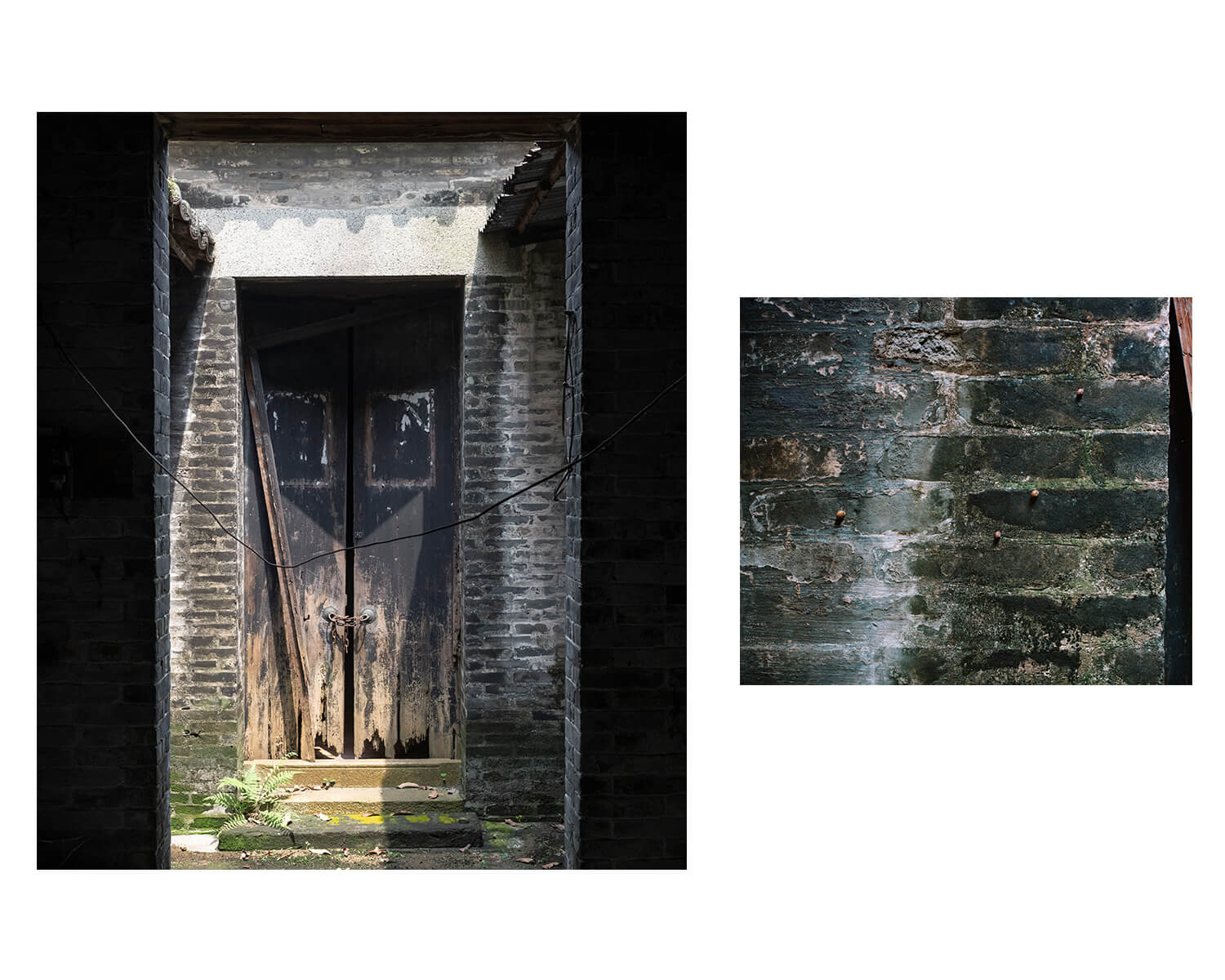 Tony Mak - To The West Of The Solitary Sea. Old chained door and brick detail