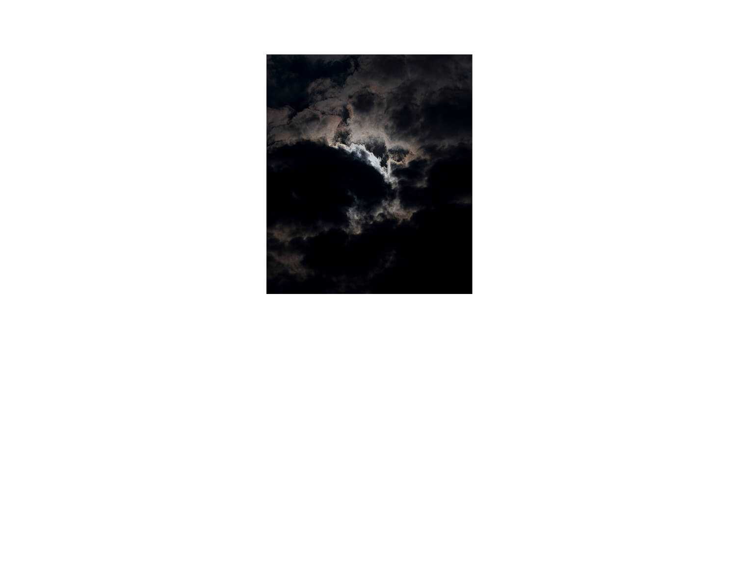 Tony Mak - To The West Of The Solitary Sea. Black sky and moon emerging from clouds