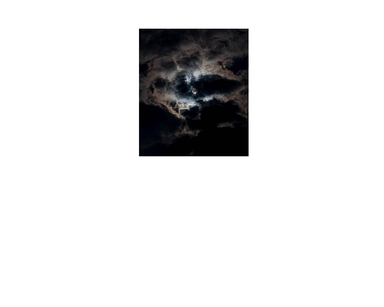 Tony Mak - To The West Of The Solitary Sea. Black night sky with moonlight behind clouds