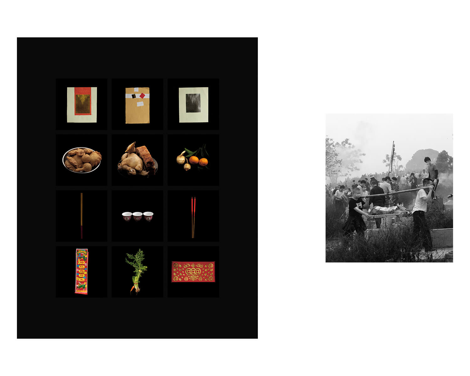 Tony Mak - To The West Of The Solitary Sea. Grid of still lifes on black background, paired with B+W image of crowds and people carrying pig
