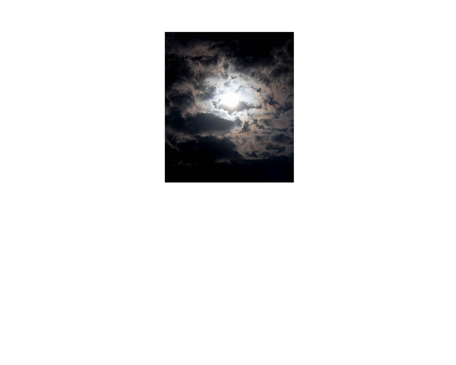 Tony Mak - To The West Of The Solitary Sea. Night sky scene with bright moonlight behind clouds