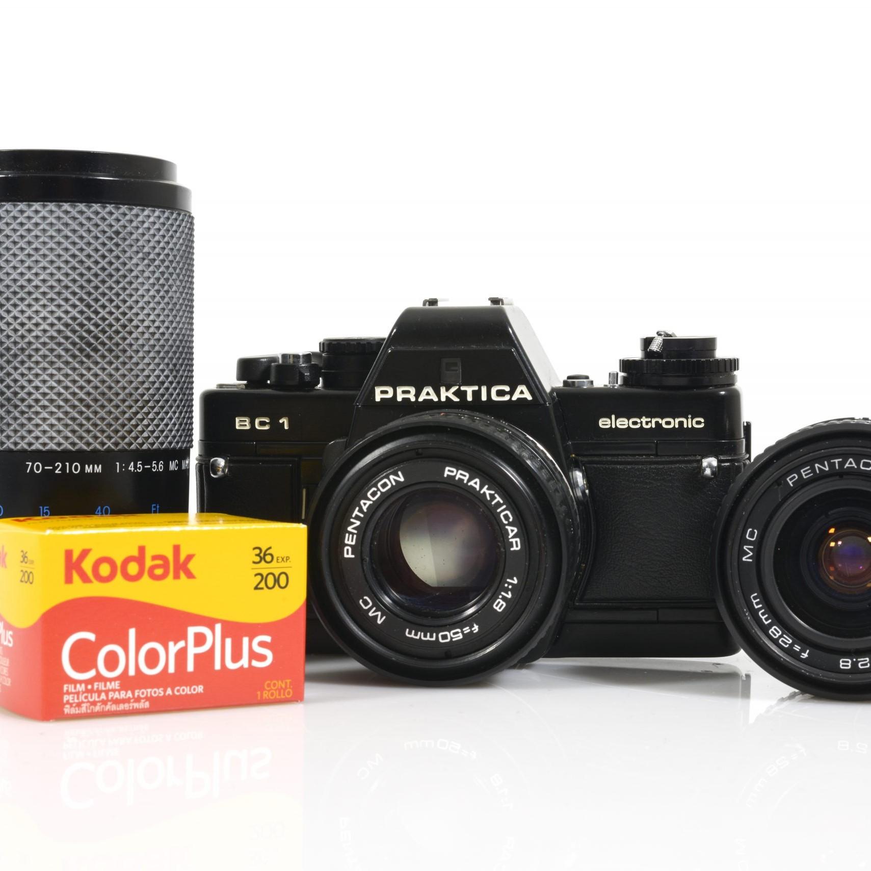Epic 35mm Film Starter Kit: Praktica BC1 35mm Film Camera with 3x Lenses and Roll of Film
