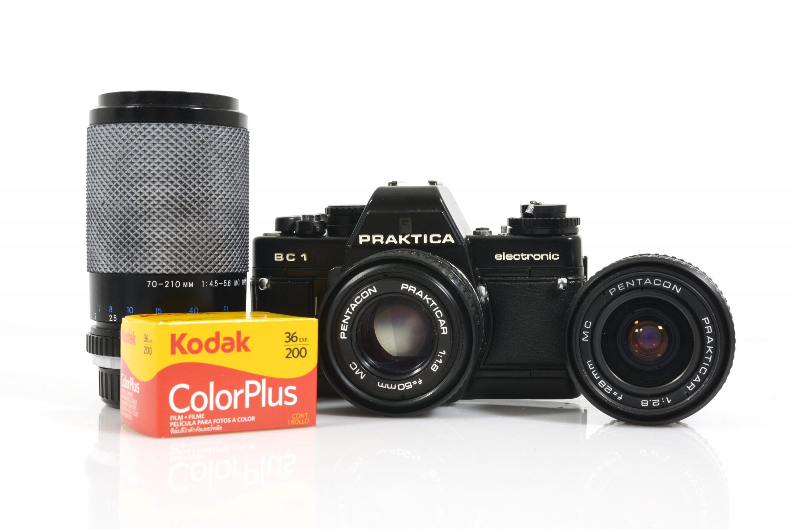 Epic 35mm Film Starter Kit: Praktica BC1 35mm Film Camera with 3x Lenses and Roll of Film